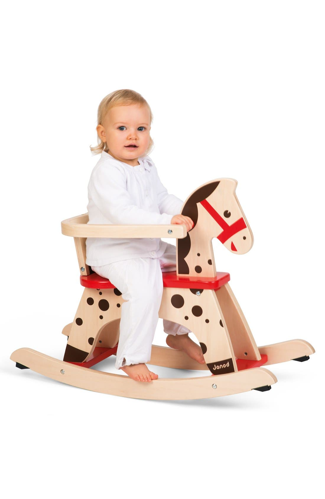 'Caramel' Wood Rocking Horse,                             Alternate thumbnail 5, color,                             RED