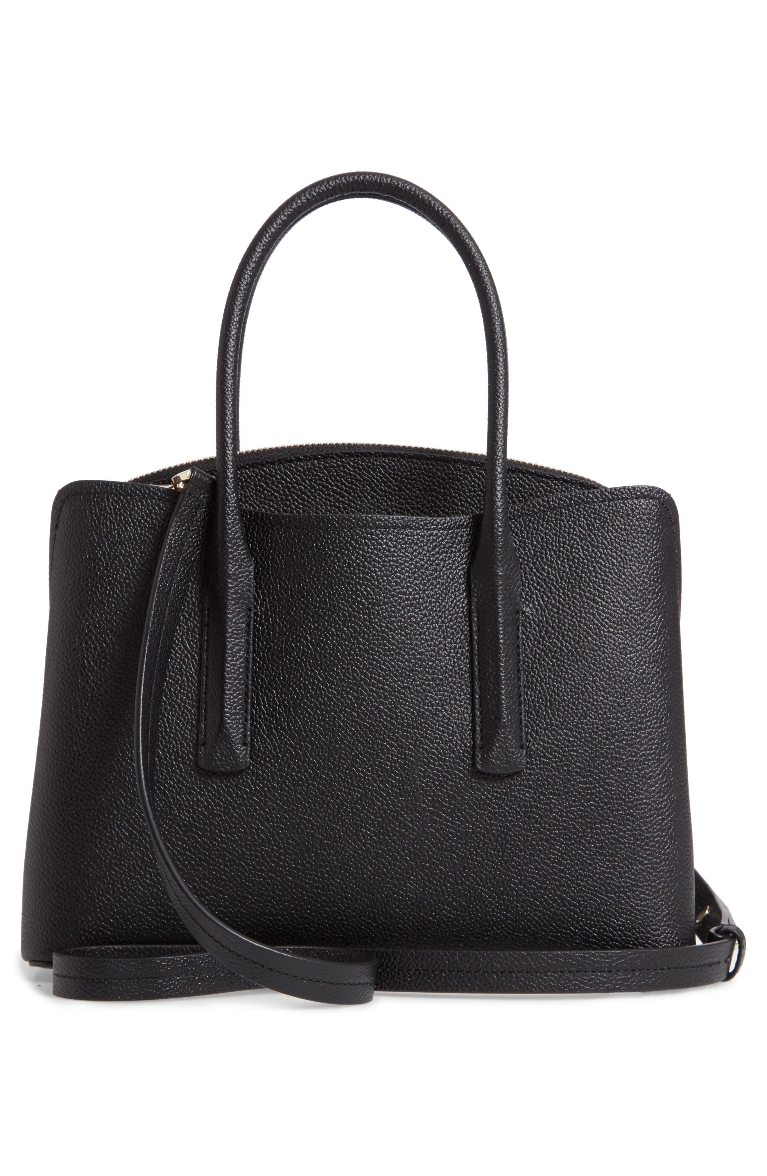 medium margaux embellished leather satchel,                             Alternate thumbnail 3, color,                             BLACK