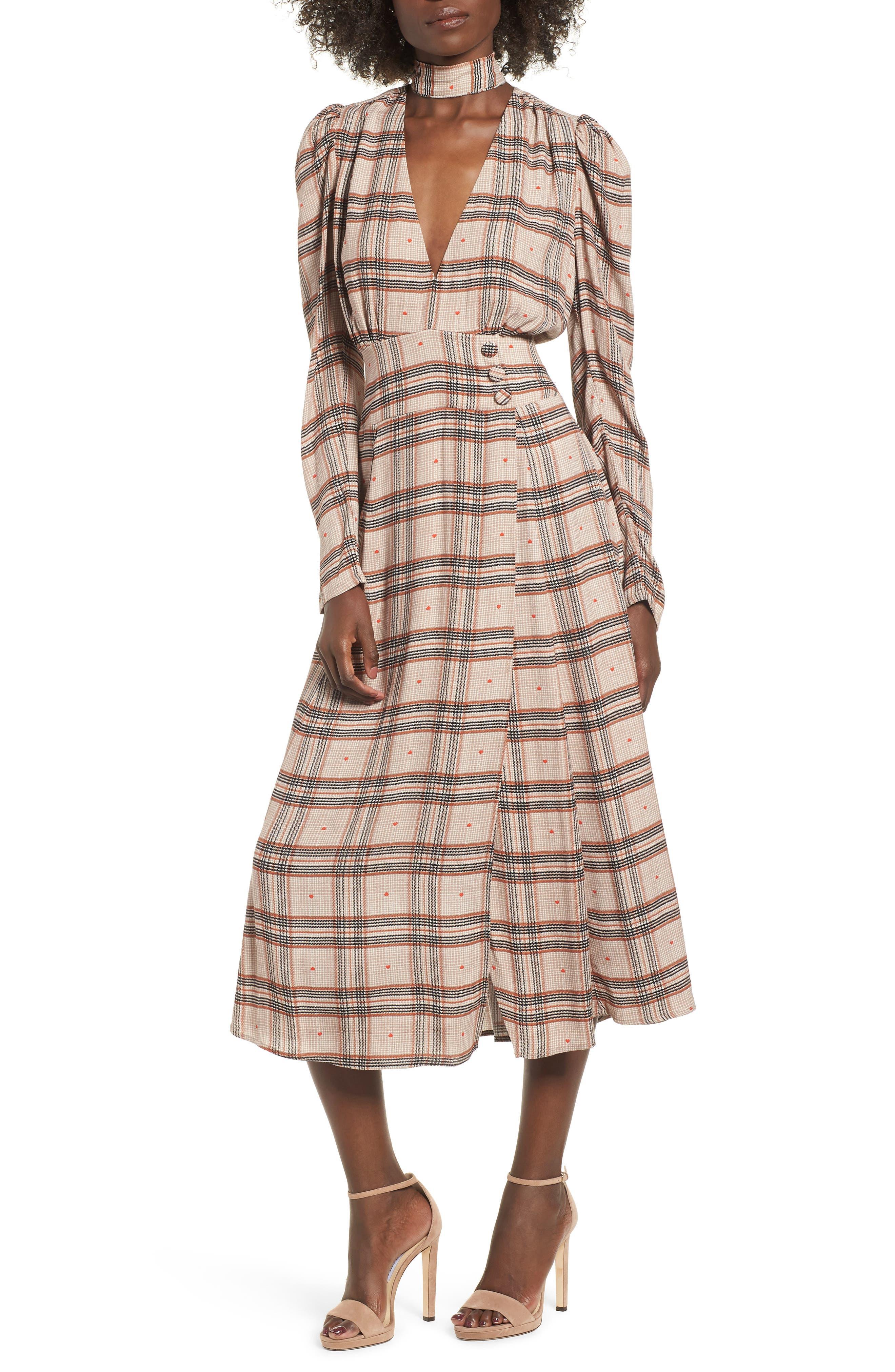 Quinn Wrap Midi Dress,                             Main thumbnail 1, color,                             PLAID WITH HEART