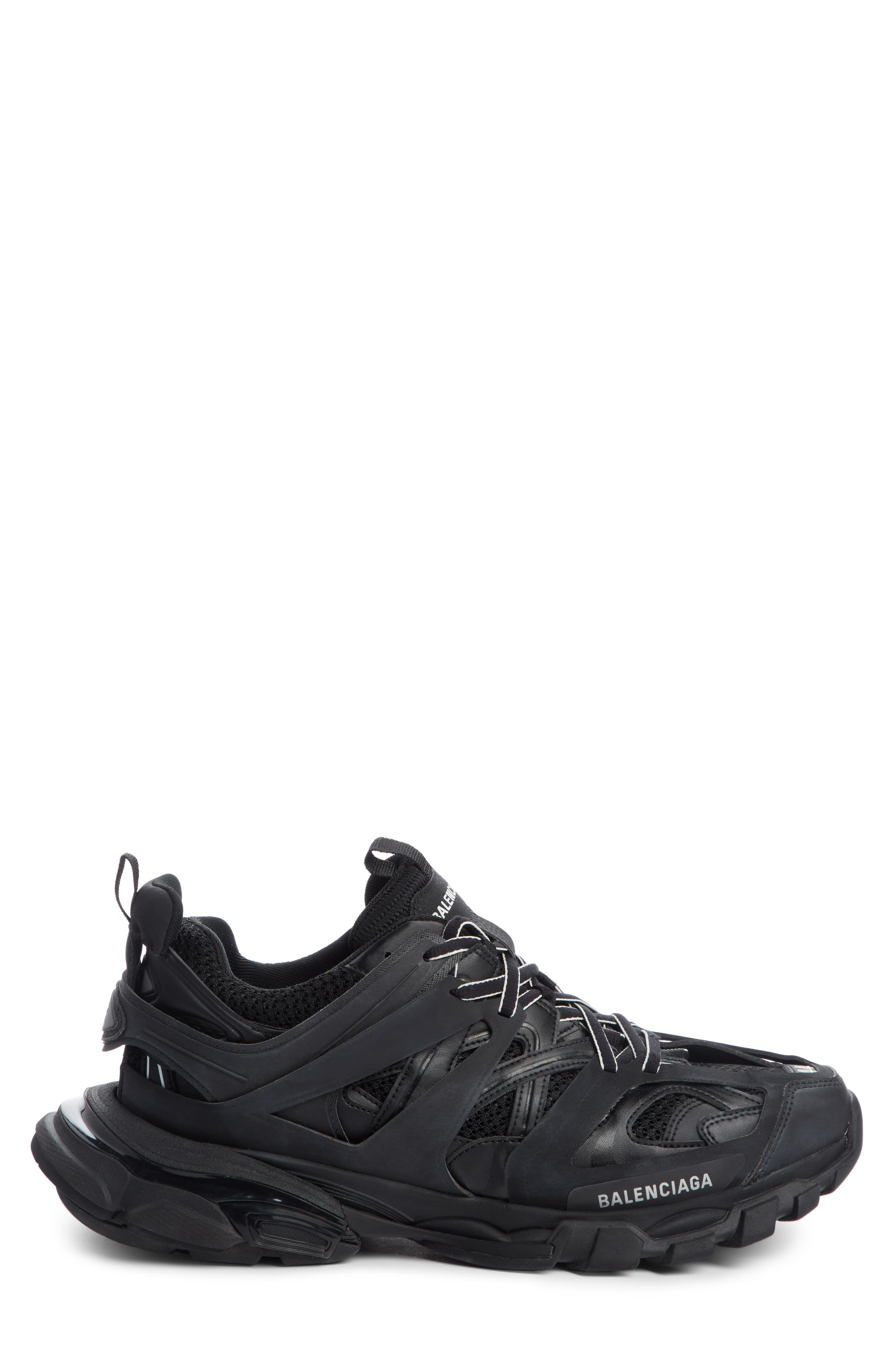 Balenciaga Track Mesh And Leather Sneakers - Black
