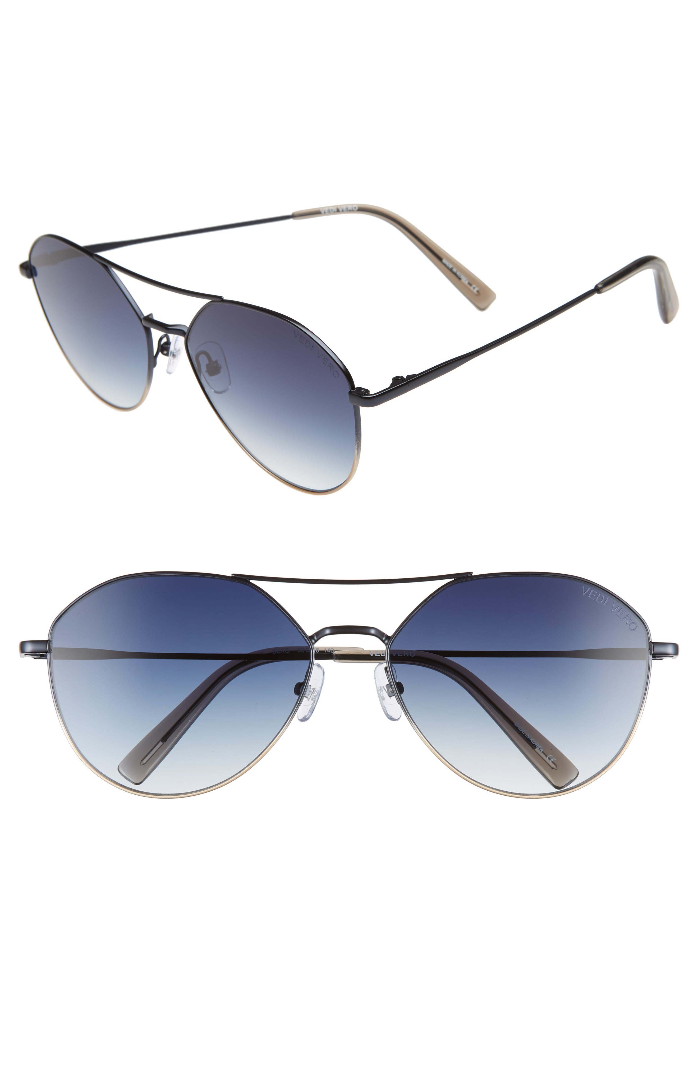 VEDI VERO 60Mm Aviator Sunglasses - Black/ Dark Navy/ Gold