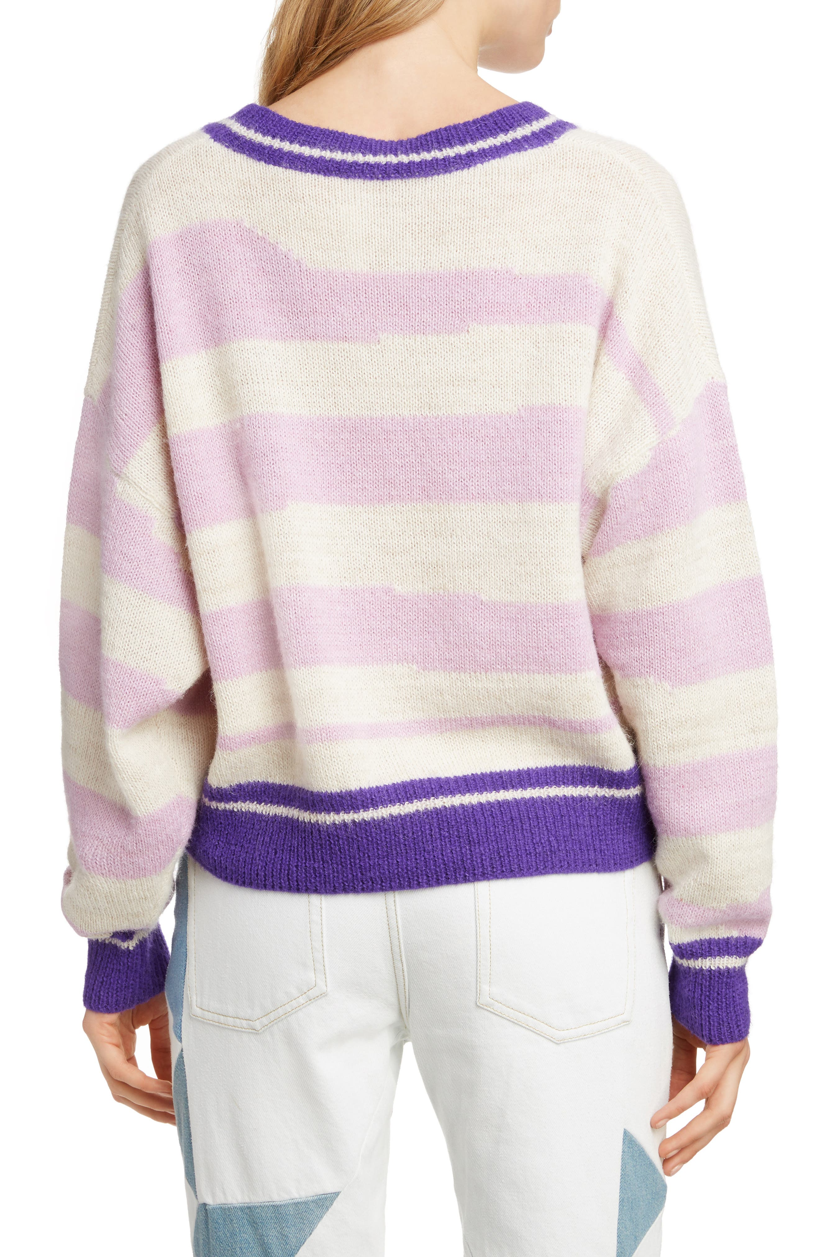 Glowy Stripe Sweater,                             Alternate thumbnail 2, color,                             LILAC