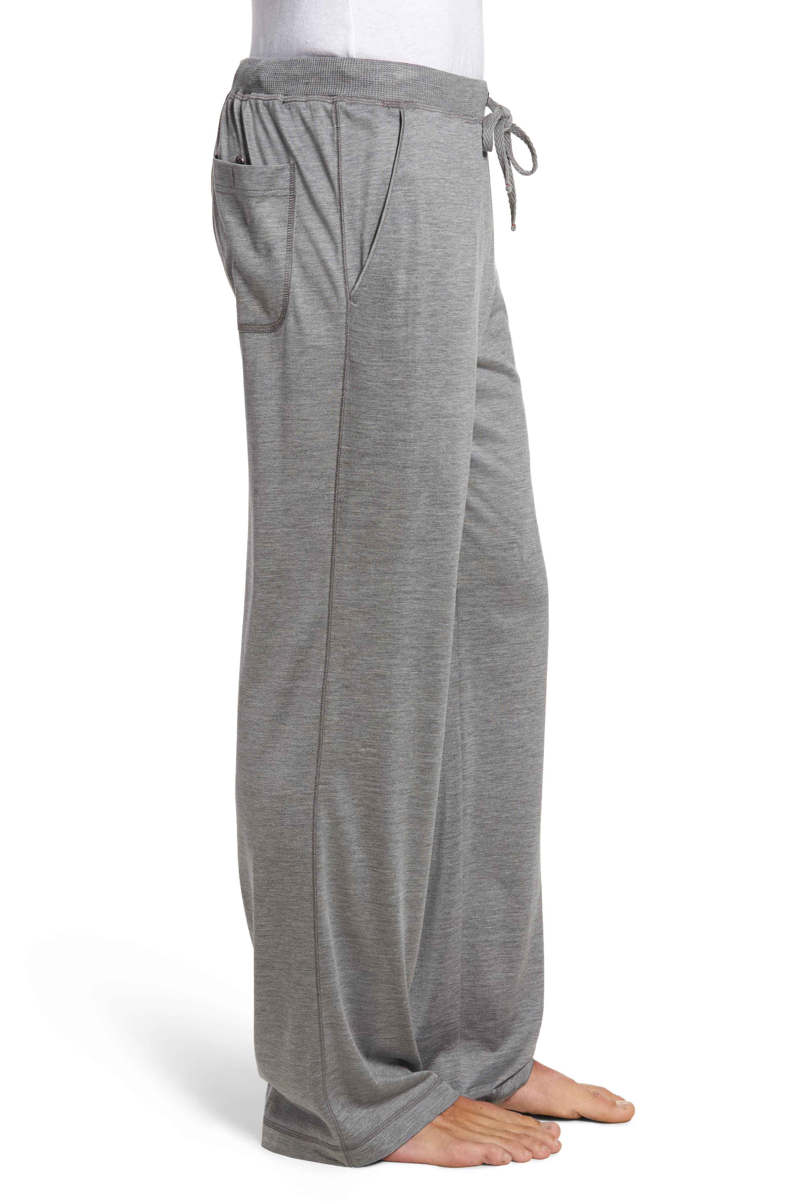 Silk & Cotton Lounge Pants,                             Alternate thumbnail 3, color,                             CHARCOAL HEATHER