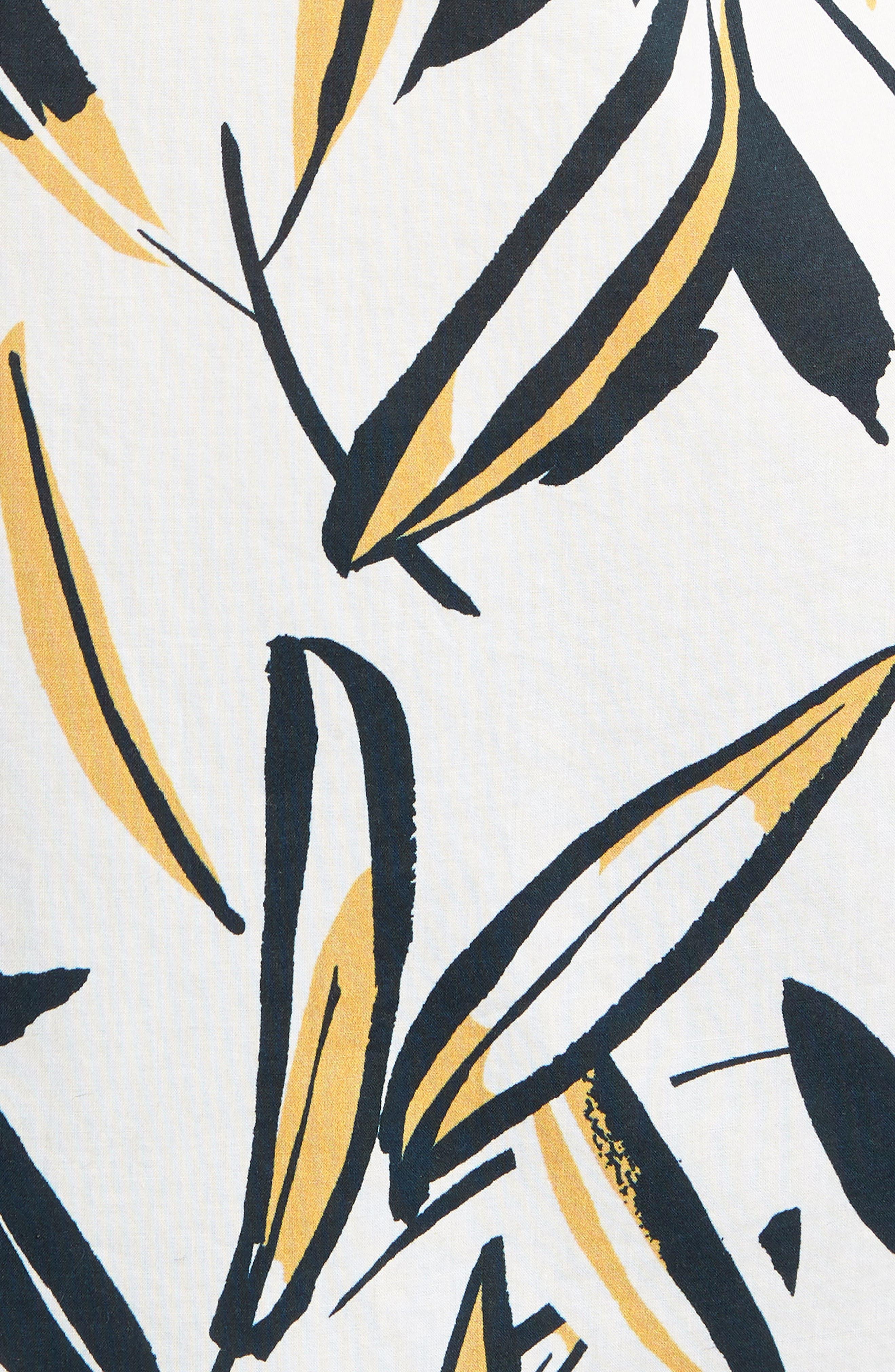 Riviera Slim Fit Leafy Print Sport Shirt,                             Alternate thumbnail 5, color,                             100