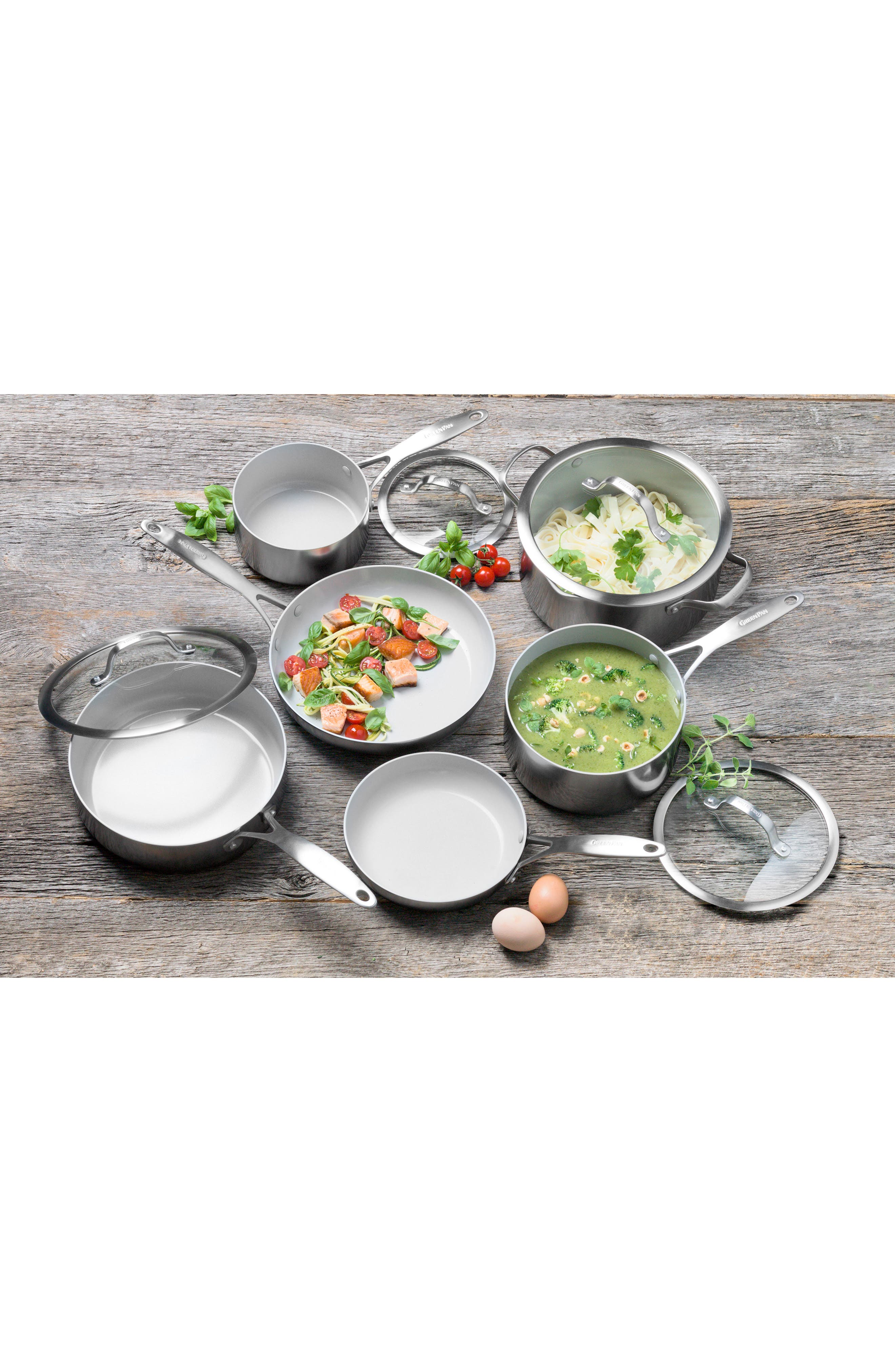Venice Pro 10-Piece Multilayer Stainless Steel Ceramic Nonstick Cookware Set,                             Alternate thumbnail 5, color,                             STAINLESS STEEL