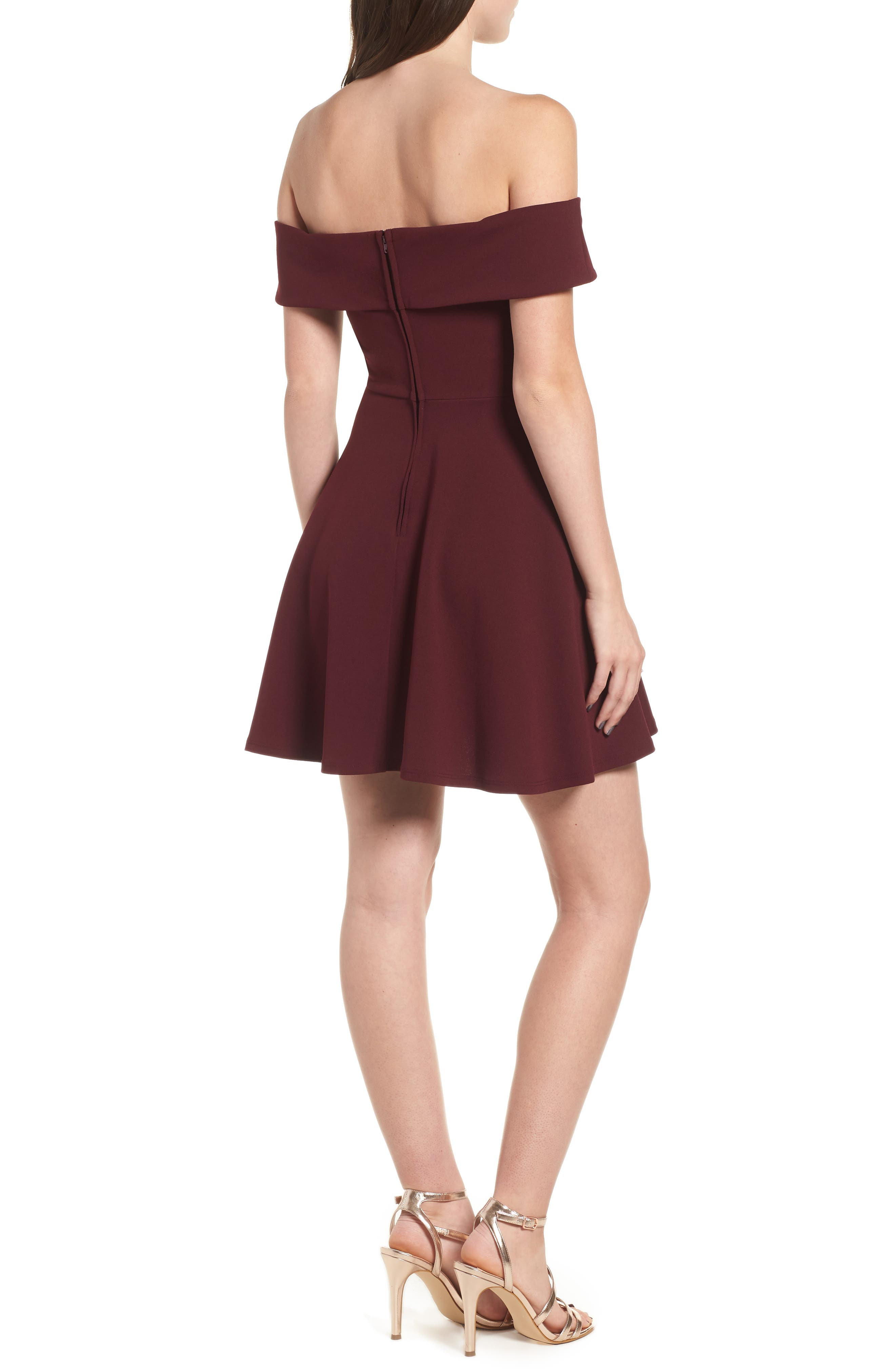 Off the Shoulder Scuba Crepe Skater Dress,                             Alternate thumbnail 2, color,                             930