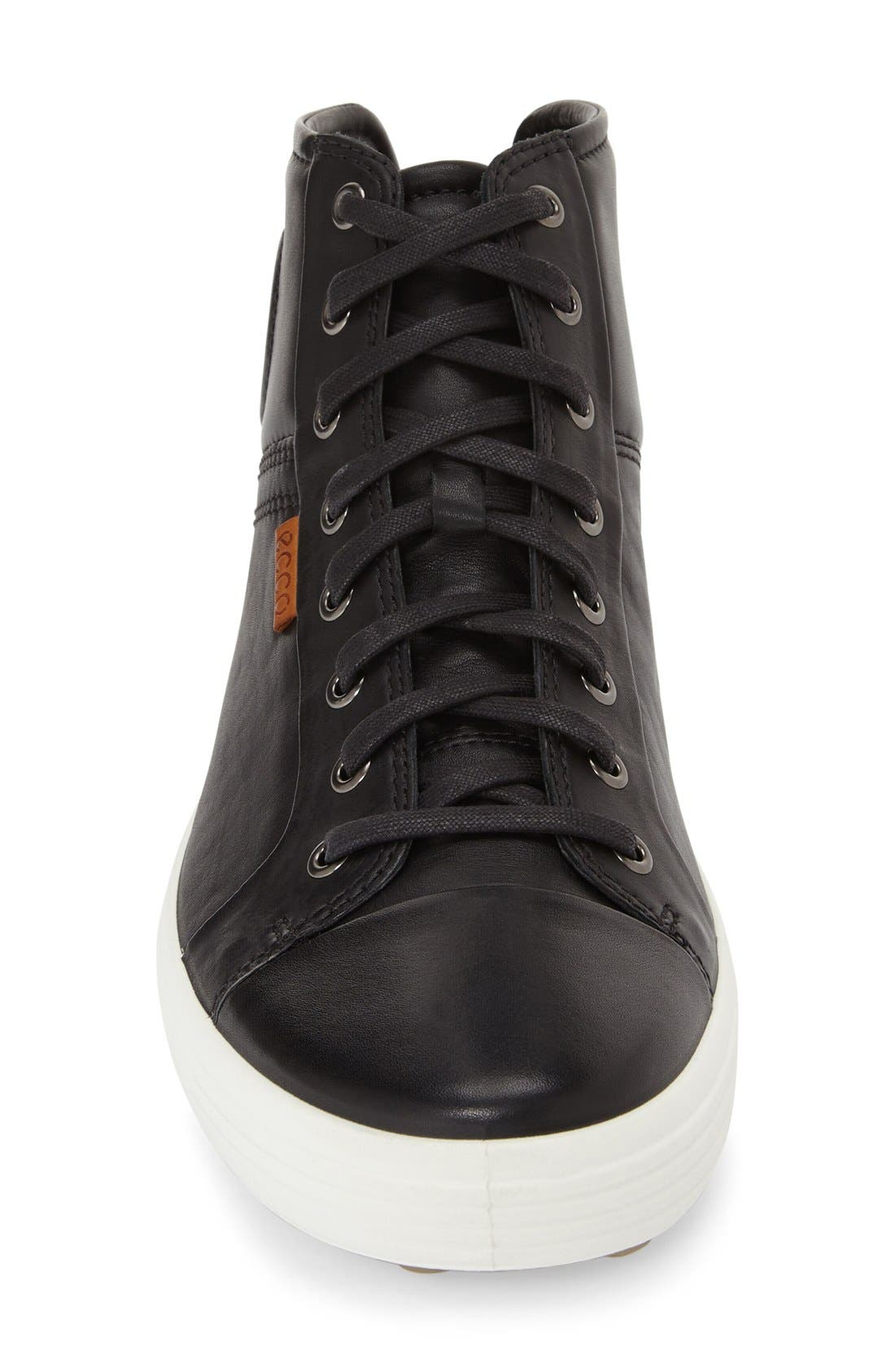 'Soft 7' High Top Sneaker,                             Alternate thumbnail 5, color,                             BLACK LEATHER