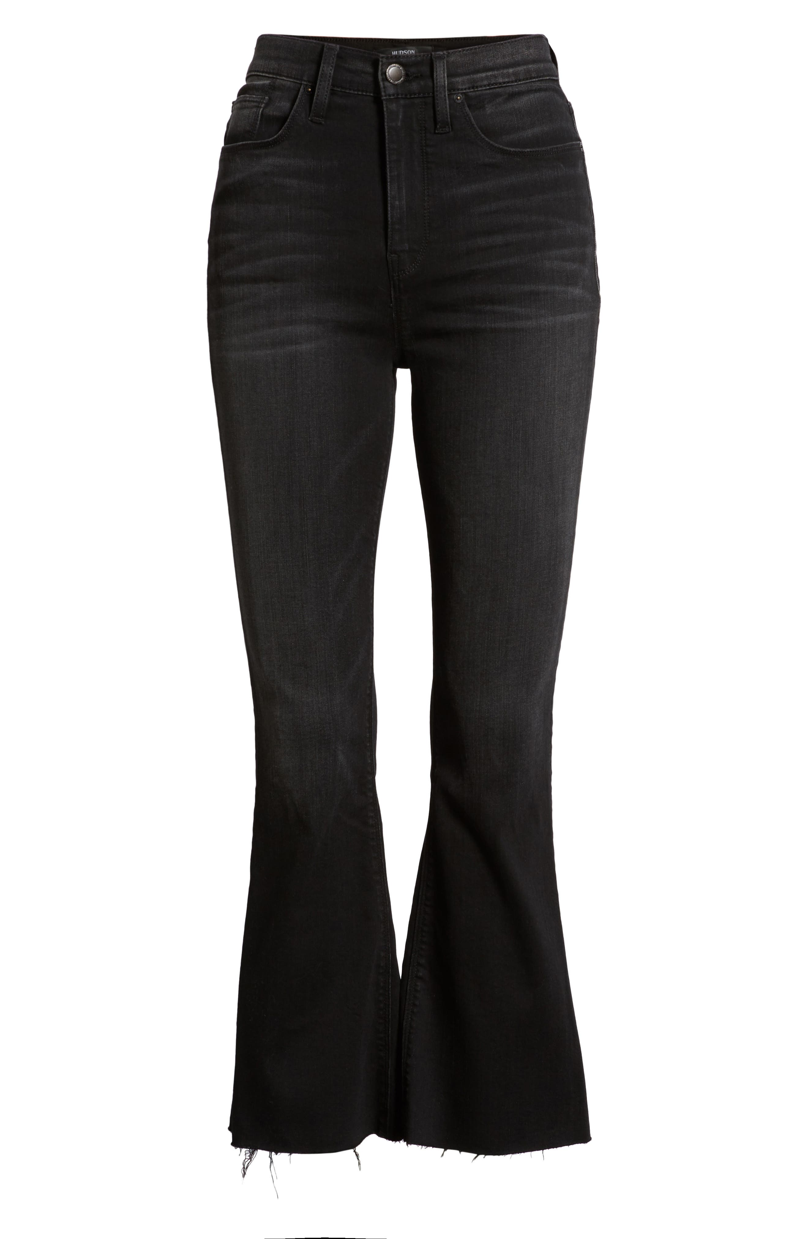Holly High Waist Crop Flare Jeans,                             Alternate thumbnail 7, color,                             BLACK HOUND