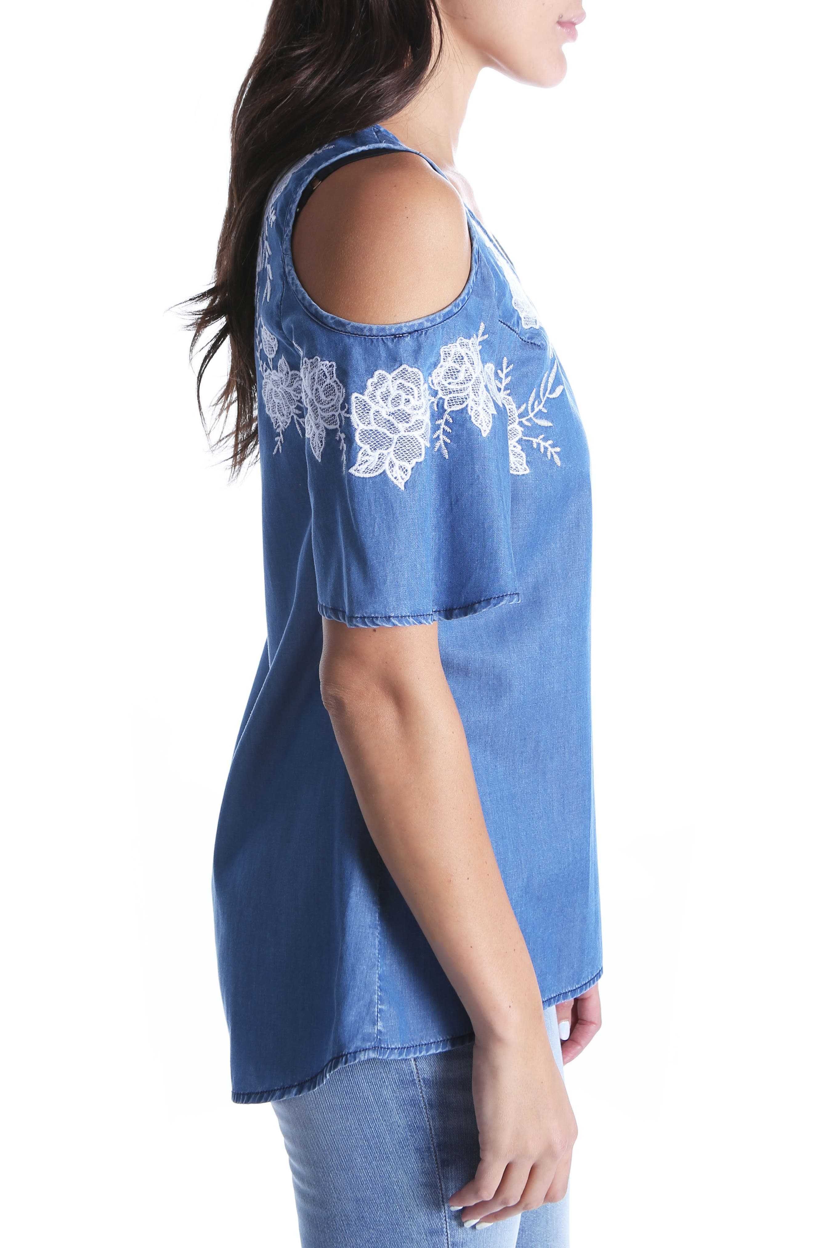 Embroidered Cold Shoulder Top,                             Alternate thumbnail 3, color,                             425