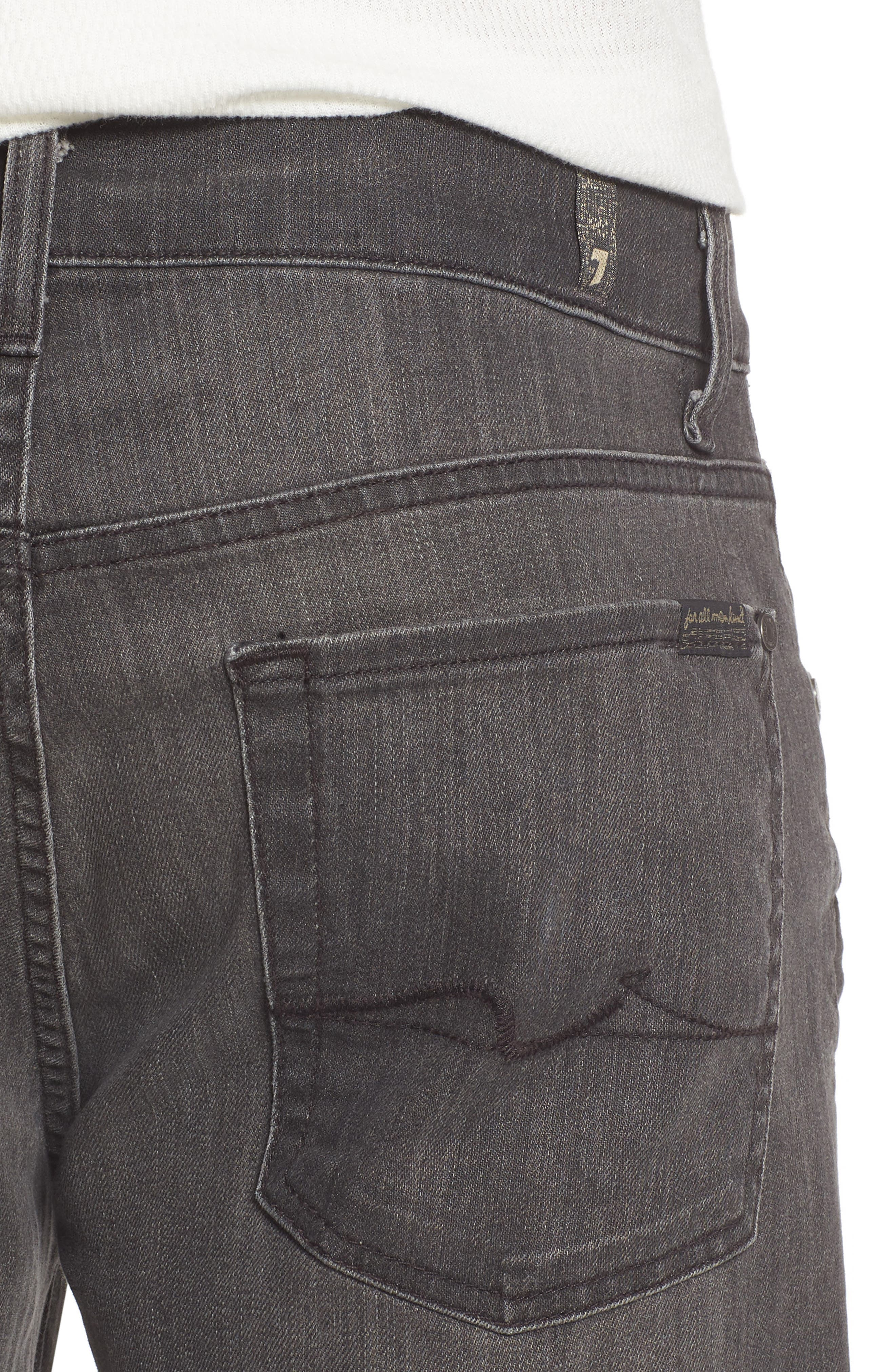 7 FOR ALL MANKIND<SUP>®</SUP>,                             Straight Leg Jeans,                             Alternate thumbnail 4, color,                             001