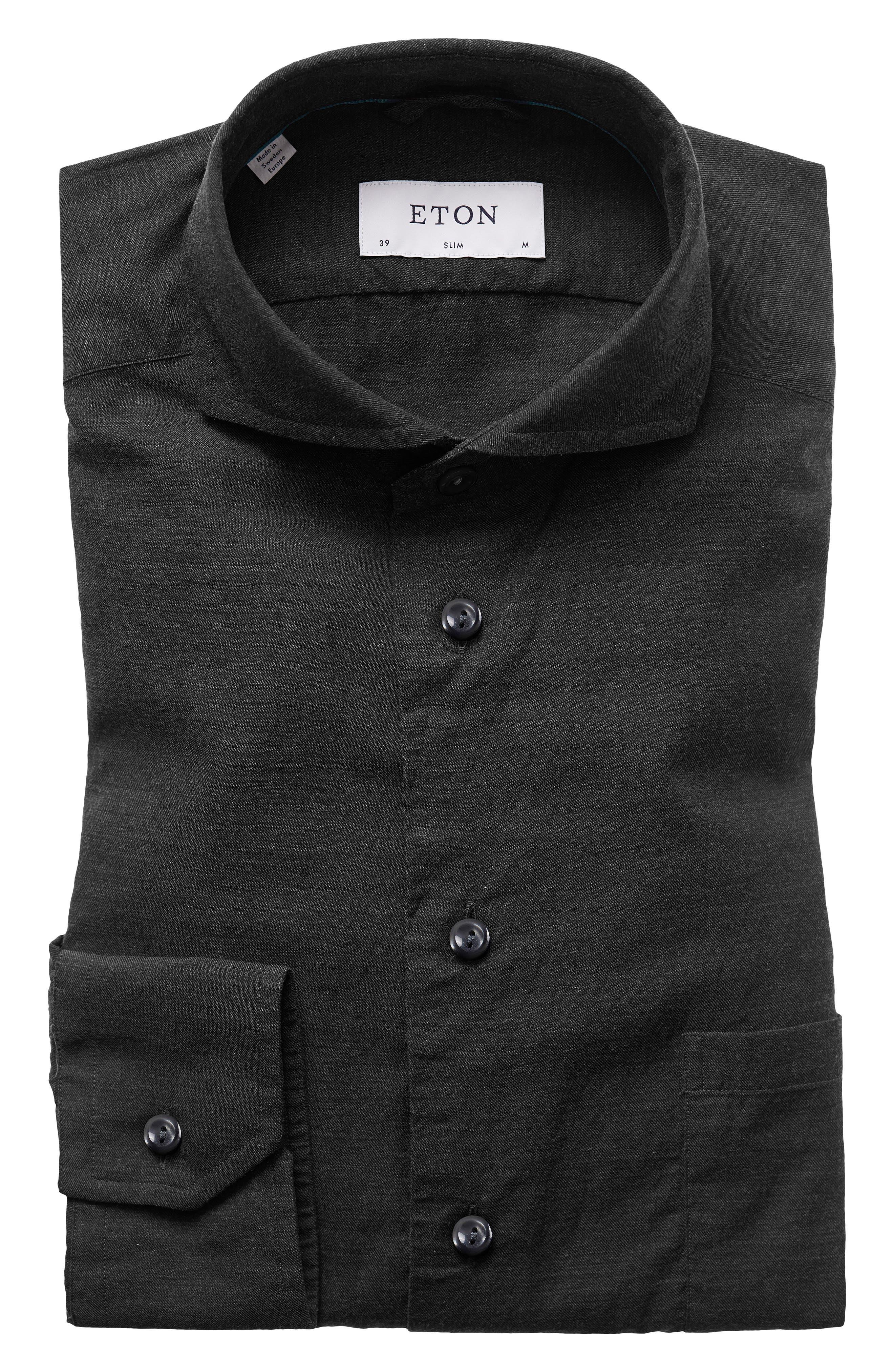 ETON,                             Slim Fit Solid Dress Shirt,                             Main thumbnail 1, color,                             001