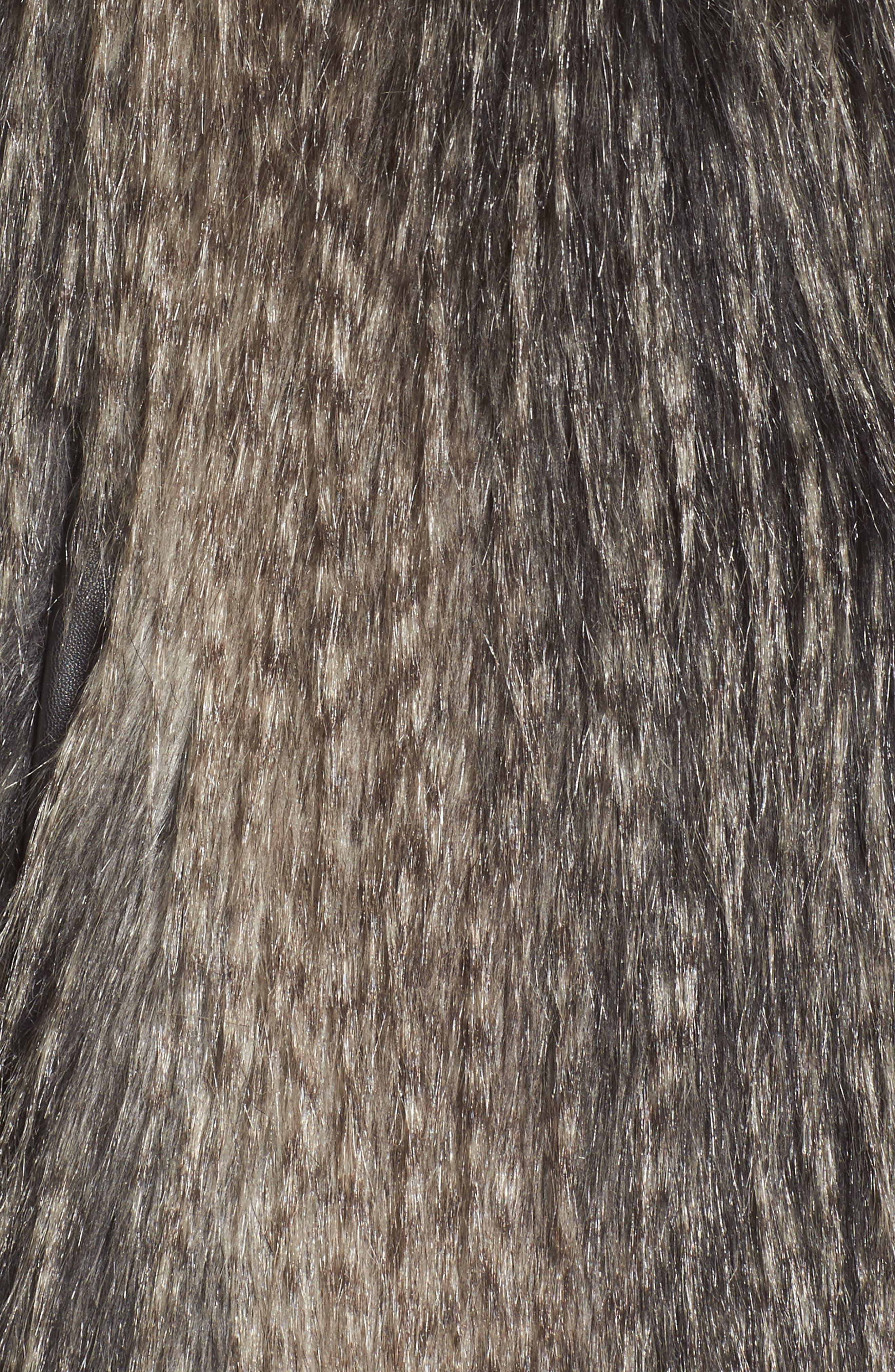Collarless Faux Fur Vest,                             Alternate thumbnail 5, color,                             001