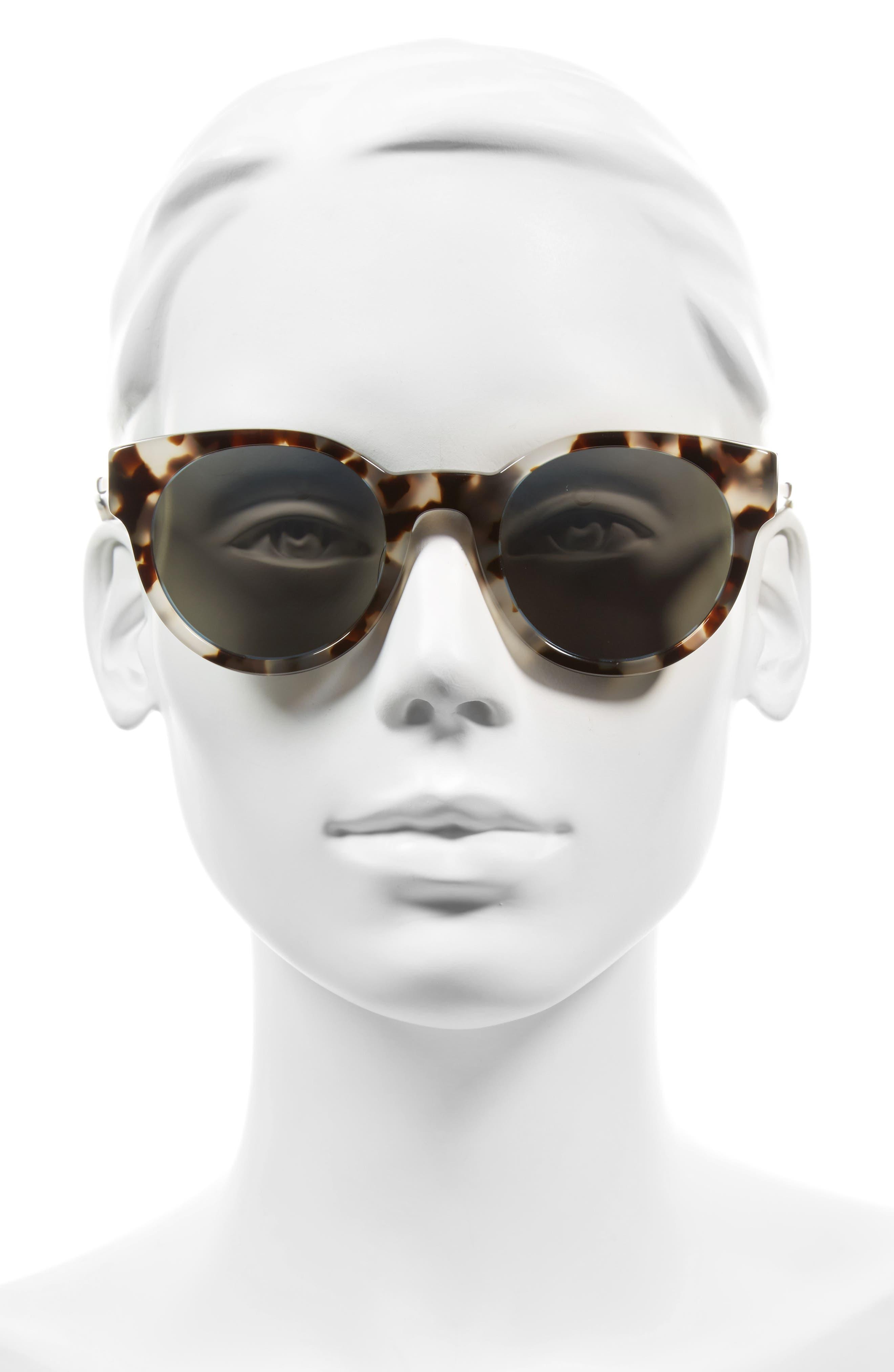 Houston 49mm Polarized Round Sunglasses,                             Alternate thumbnail 2, color,                             BISQUE HAVANA/ BLUE MIRROR