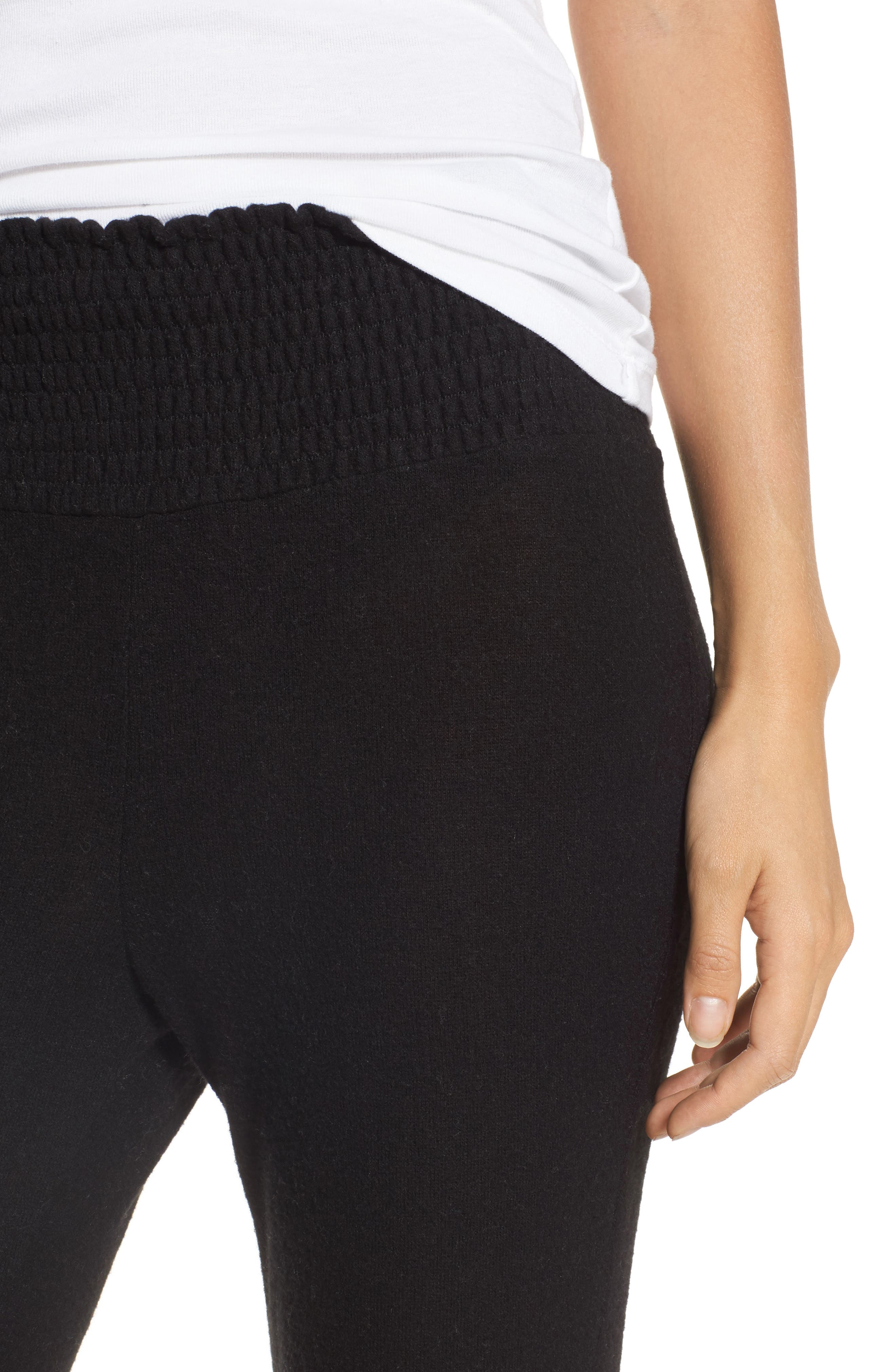 Smocked Waist Flare Leg Sweatpants,                             Alternate thumbnail 4, color,                             001