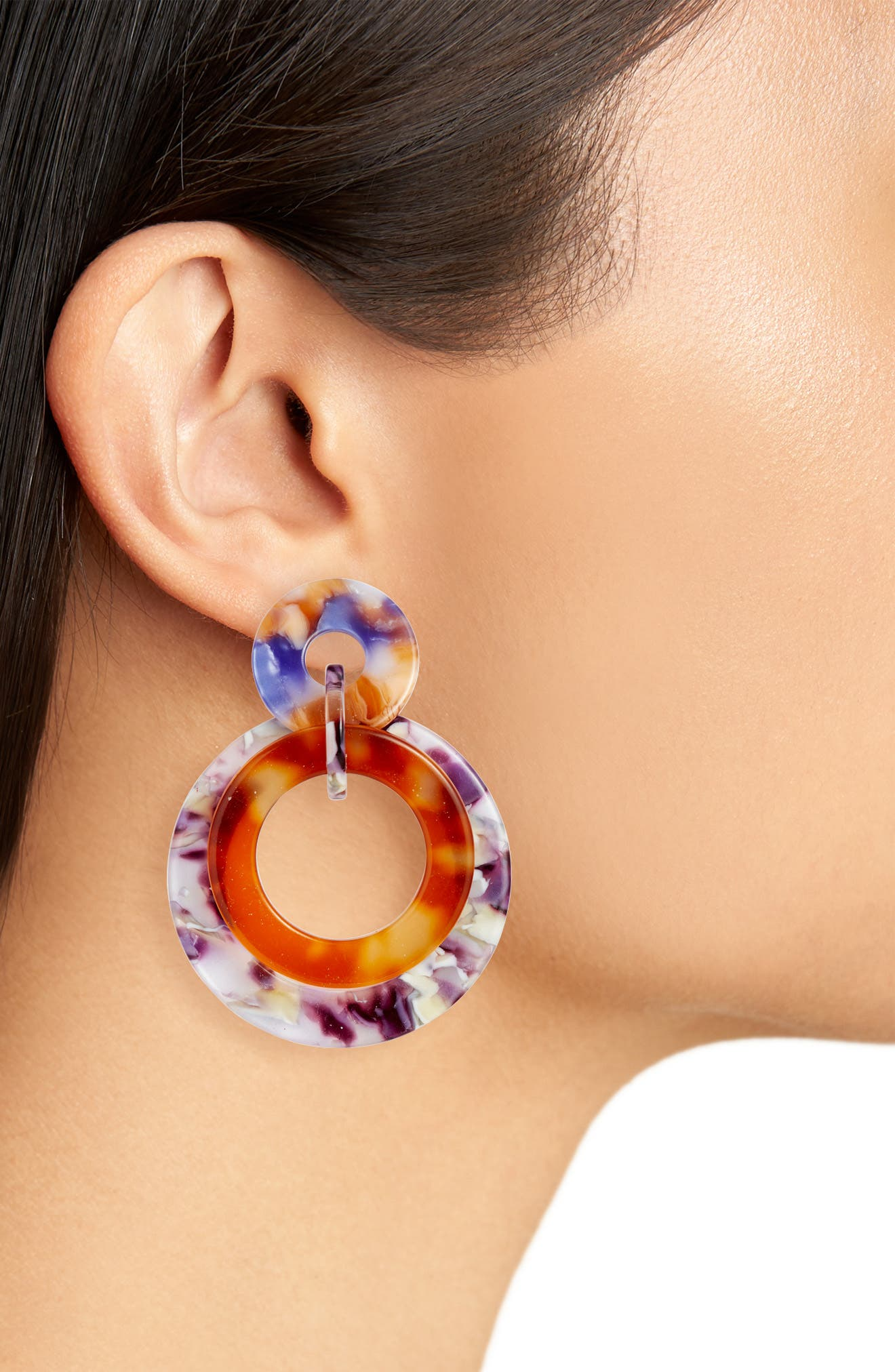 Banded Hoop Earrings,                             Alternate thumbnail 2, color,                             TORTOISE ORCHID