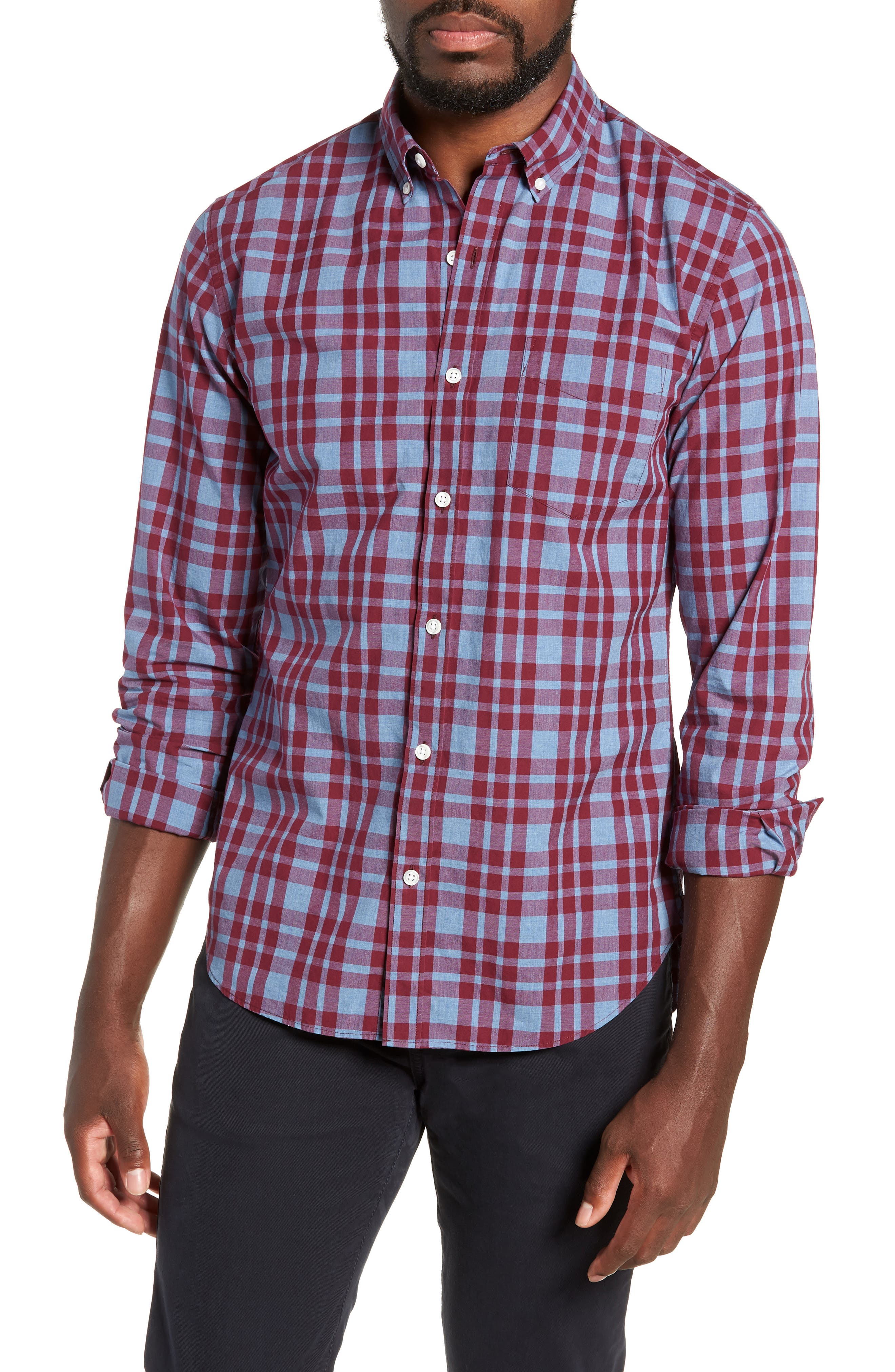 Washed Button Down Slim Fit Plaid Sport Shirt,                             Main thumbnail 1, color,                             HARDY PLAID - HEATHER DENIM
