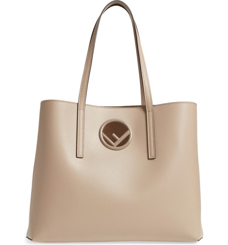 a0800a0cfe Fendi F Logo Calf Leather Shopping Tote Bag In Beige | ModeSens
