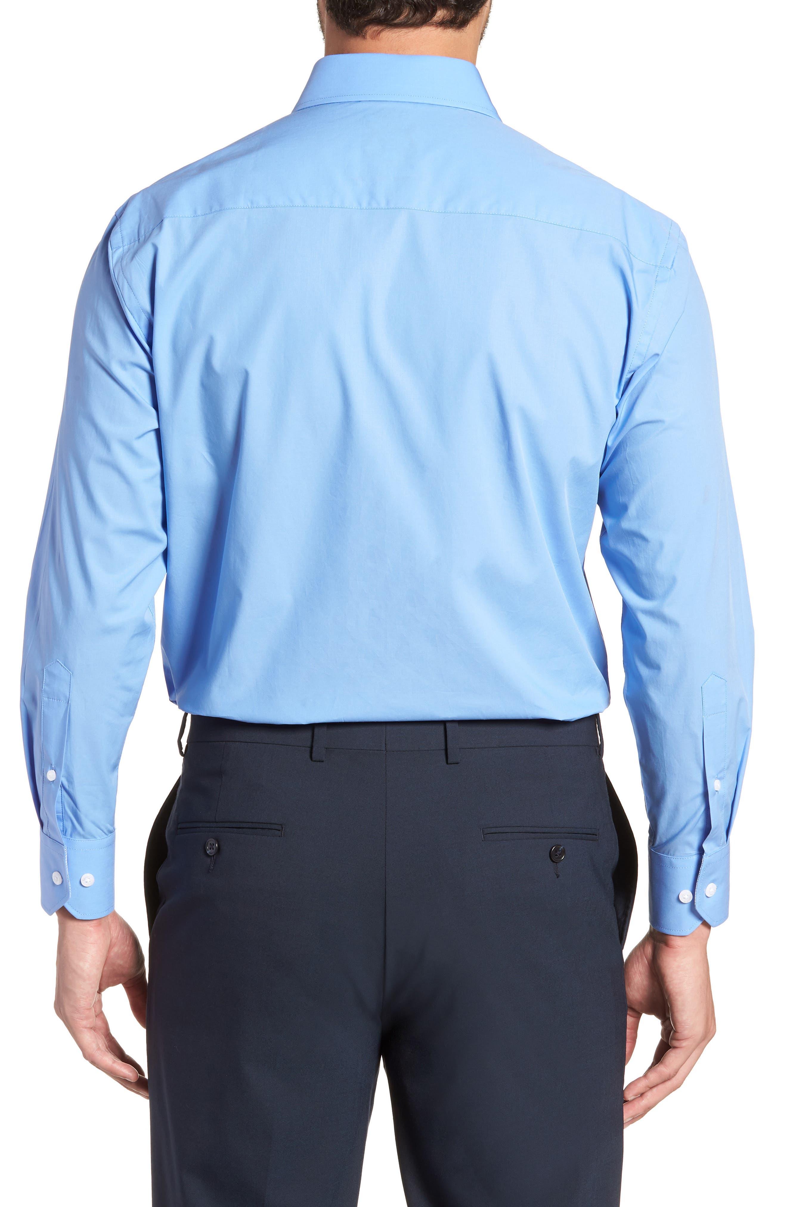 Regular Fit Stretch Solid Dress Shirt,                             Alternate thumbnail 3, color,                             BLUE
