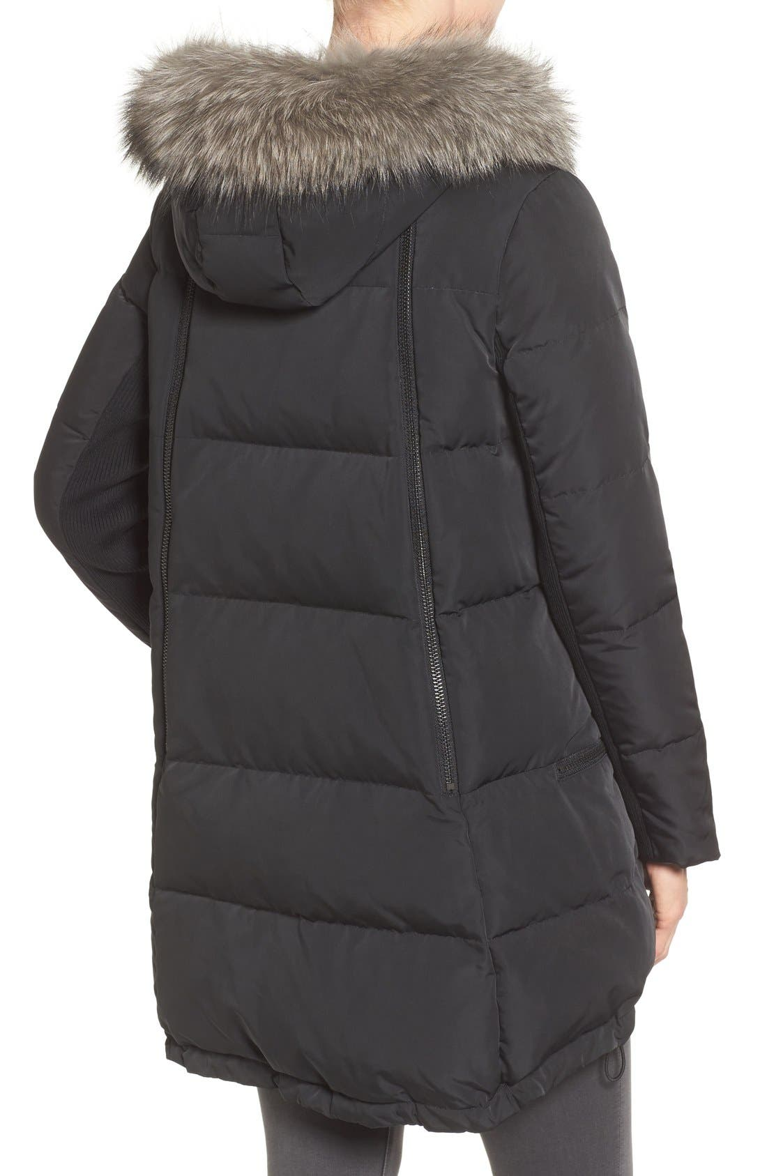 Relaxed Water Resistant Down Parka with Genuine Fox Fur Trim,                             Alternate thumbnail 4, color,