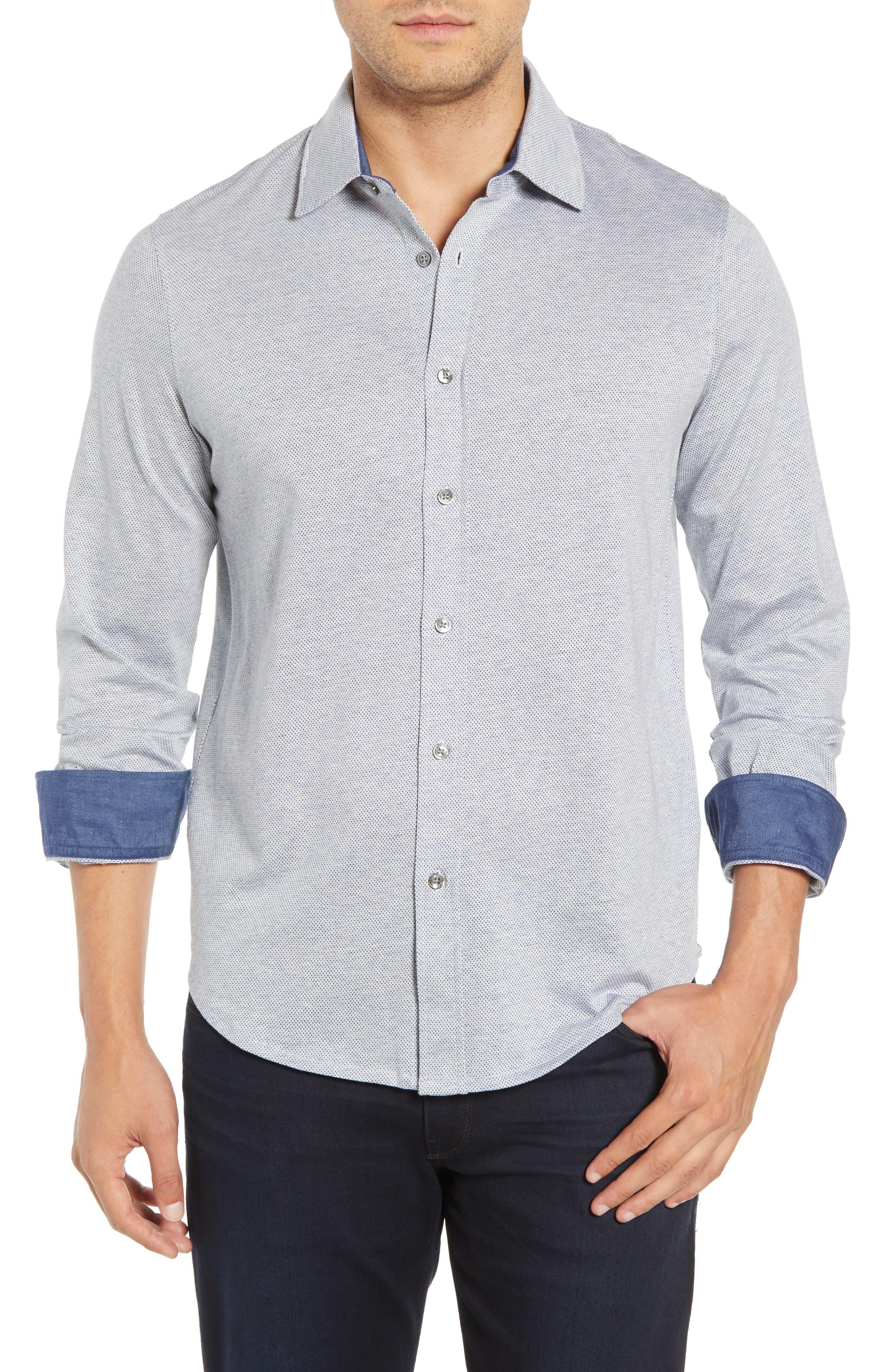 Regular Fit Microdot Knit Sport Shirt,                             Main thumbnail 1, color,                             AIR BLUE