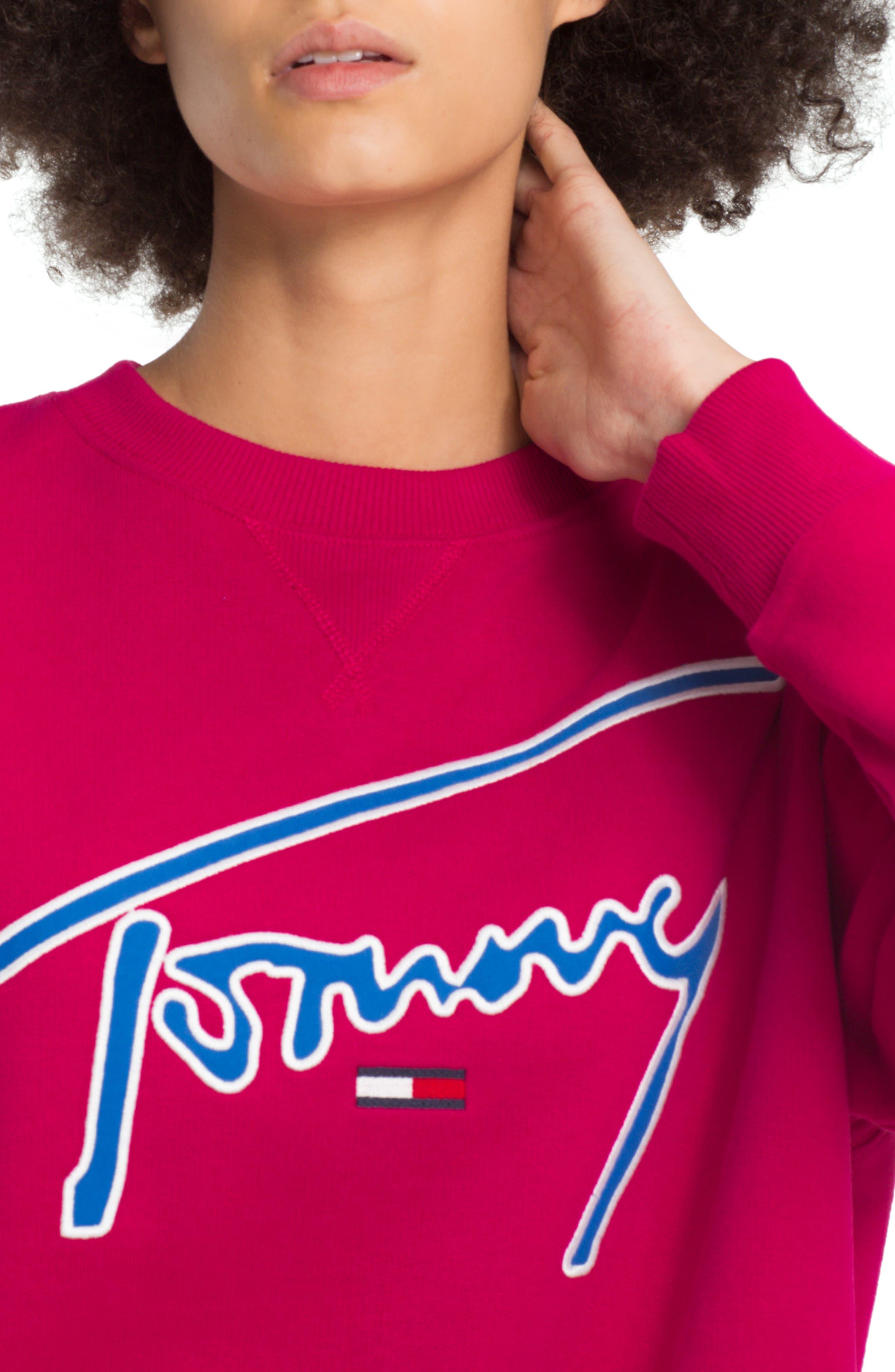 TJW Embroidered Logo Sweatshirt,                             Alternate thumbnail 3, color,                             CERISE