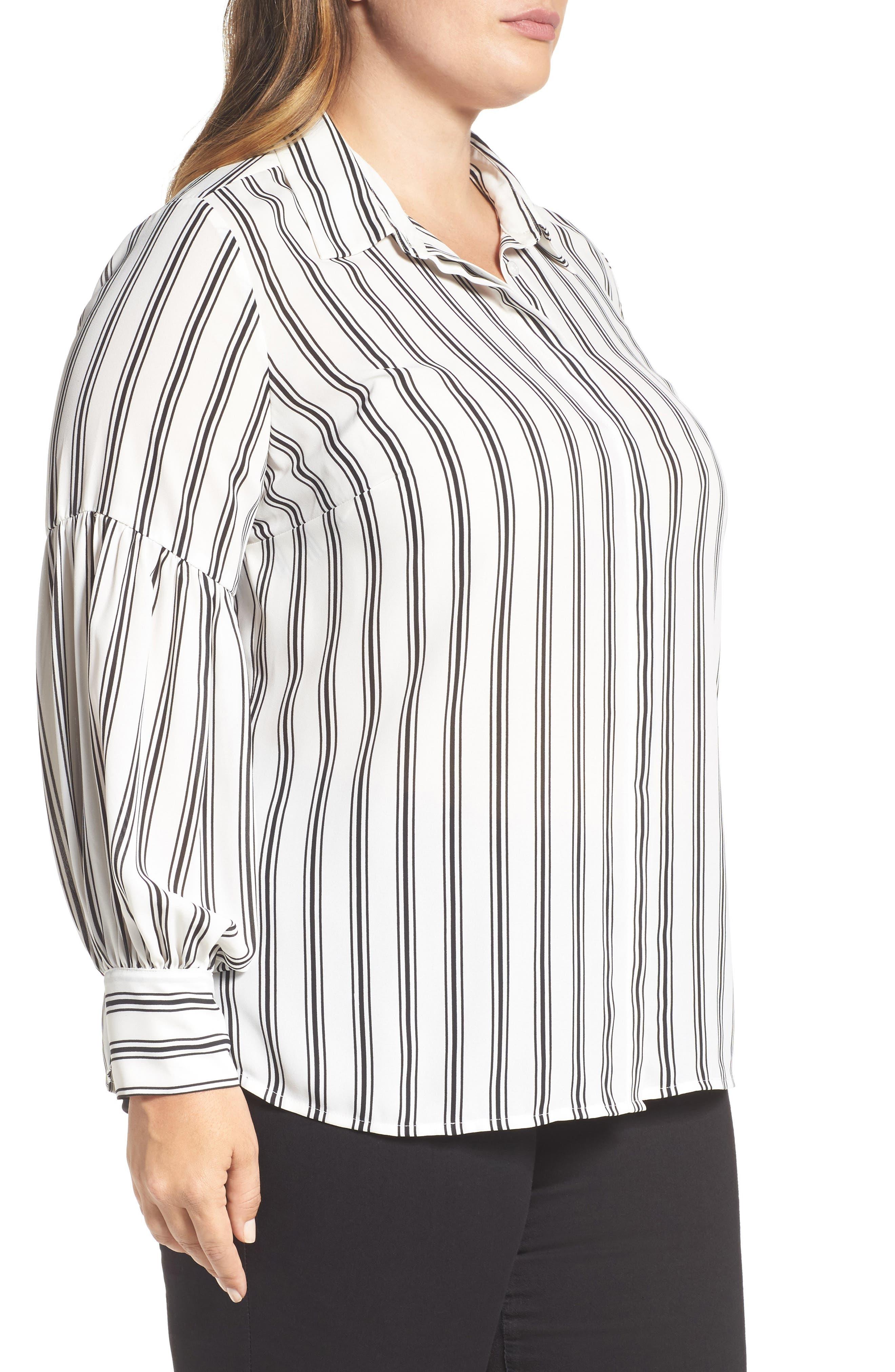 Stripe Puff Sleeve Blouse,                             Alternate thumbnail 3, color,                             901