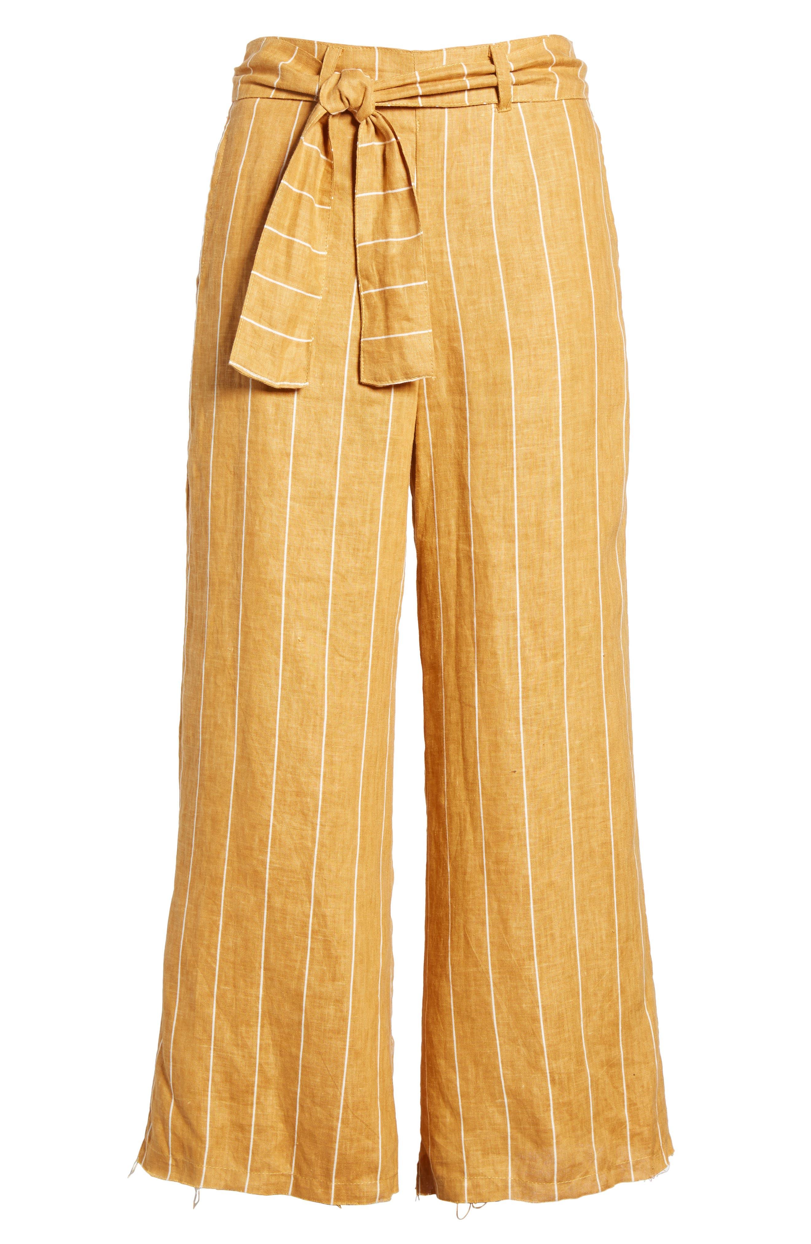 Como Wide Leg Crop Linen Pants,                             Alternate thumbnail 6, color,                             COPENHAGEN STRIPE