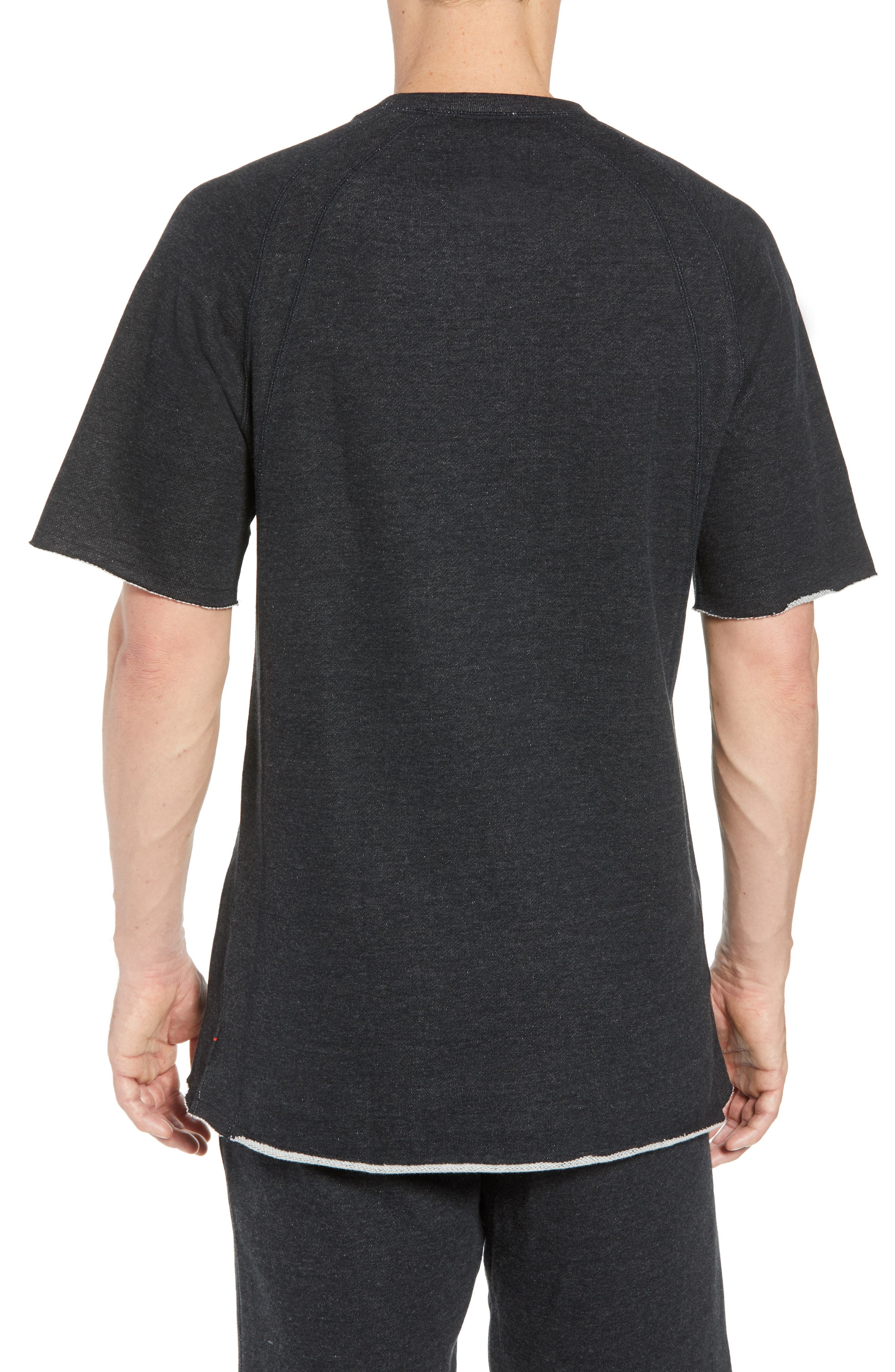 Wings Light Short Sleeve Sweatshirt,                             Alternate thumbnail 2, color,                             BLACK HEATHER/ BLACK