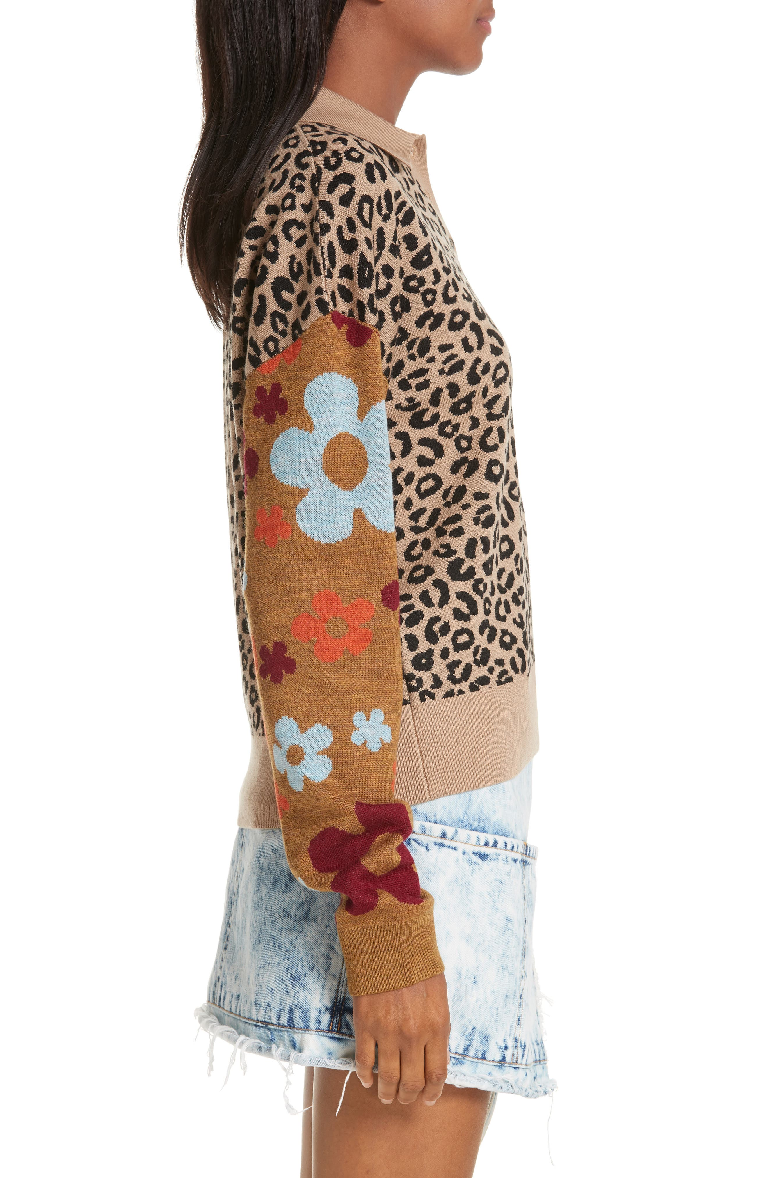 SANDY LIANG,                             Paw Paw Polo Sweater,                             Alternate thumbnail 3, color,                             LEOPARD FLORAL