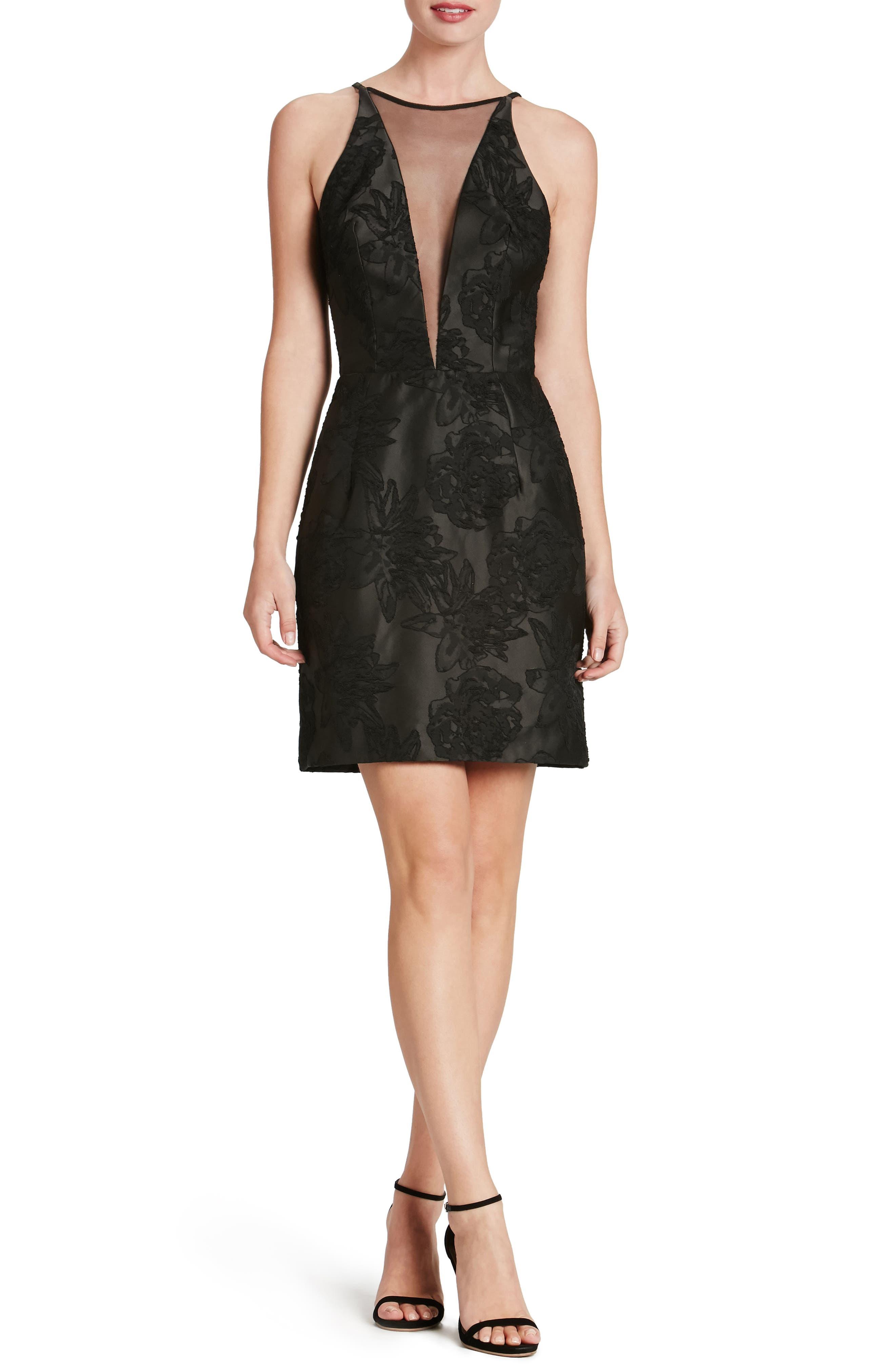 Kennedy Illusion Sheath Dress,                         Main,                         color, 001
