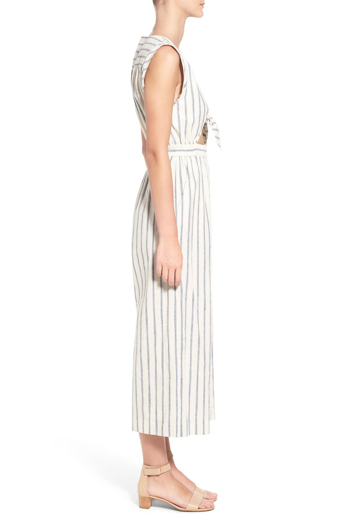 Ikat Stripe Tie Front Culotte Jumpsuit,                             Alternate thumbnail 4, color,