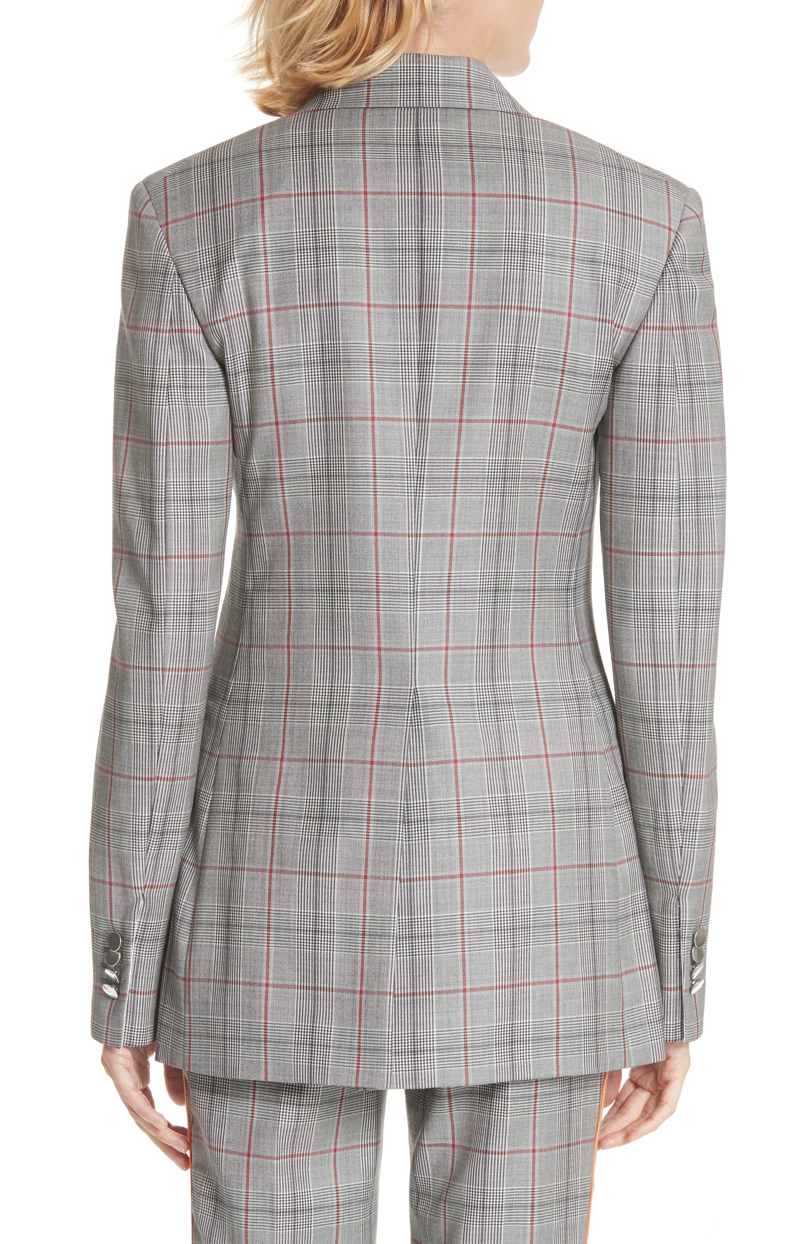 Plaid Wool Jacket,                             Alternate thumbnail 2, color,                             BLACK WHITE GRENADINE