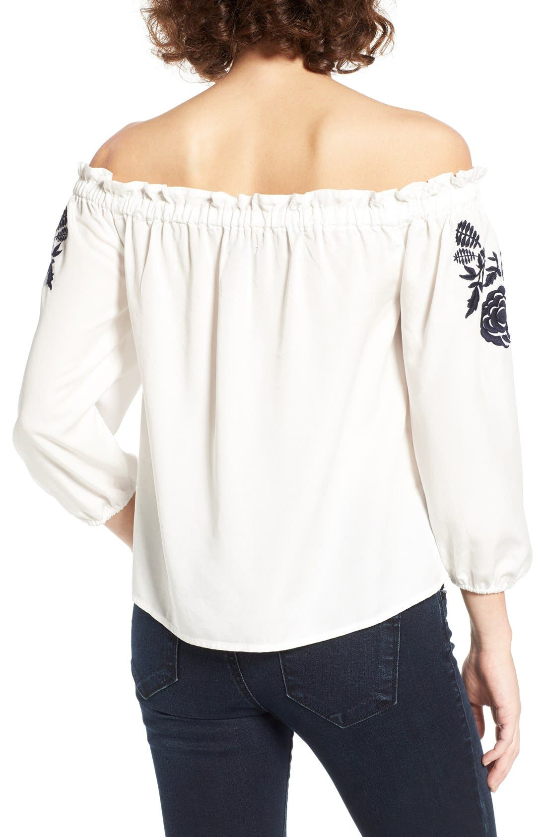 Embroidered Off the Shoulder Top,                             Alternate thumbnail 7, color,                             100
