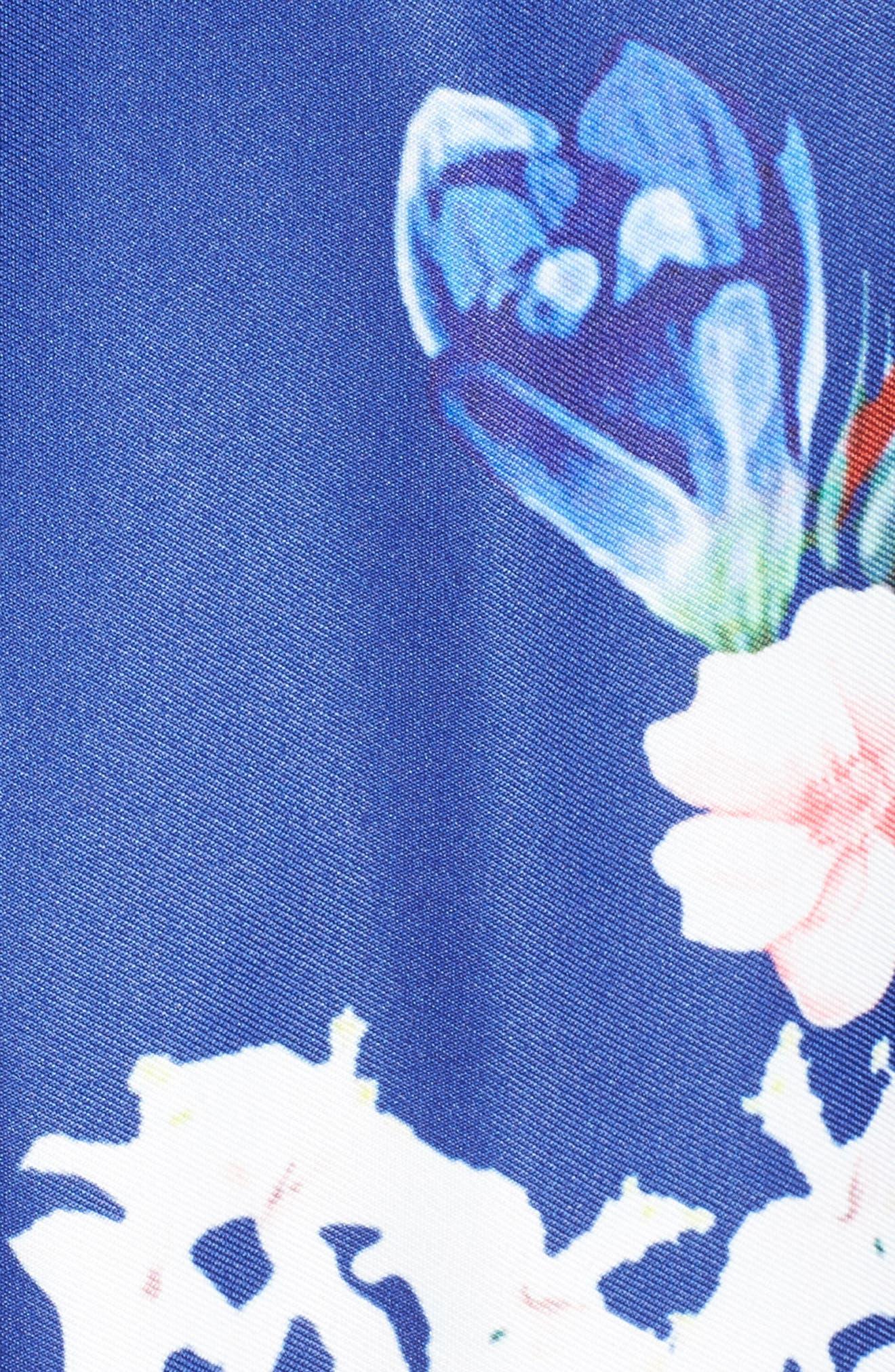 Floral Strapless Cocktail Dress,                             Alternate thumbnail 5, color,                             FLORAL