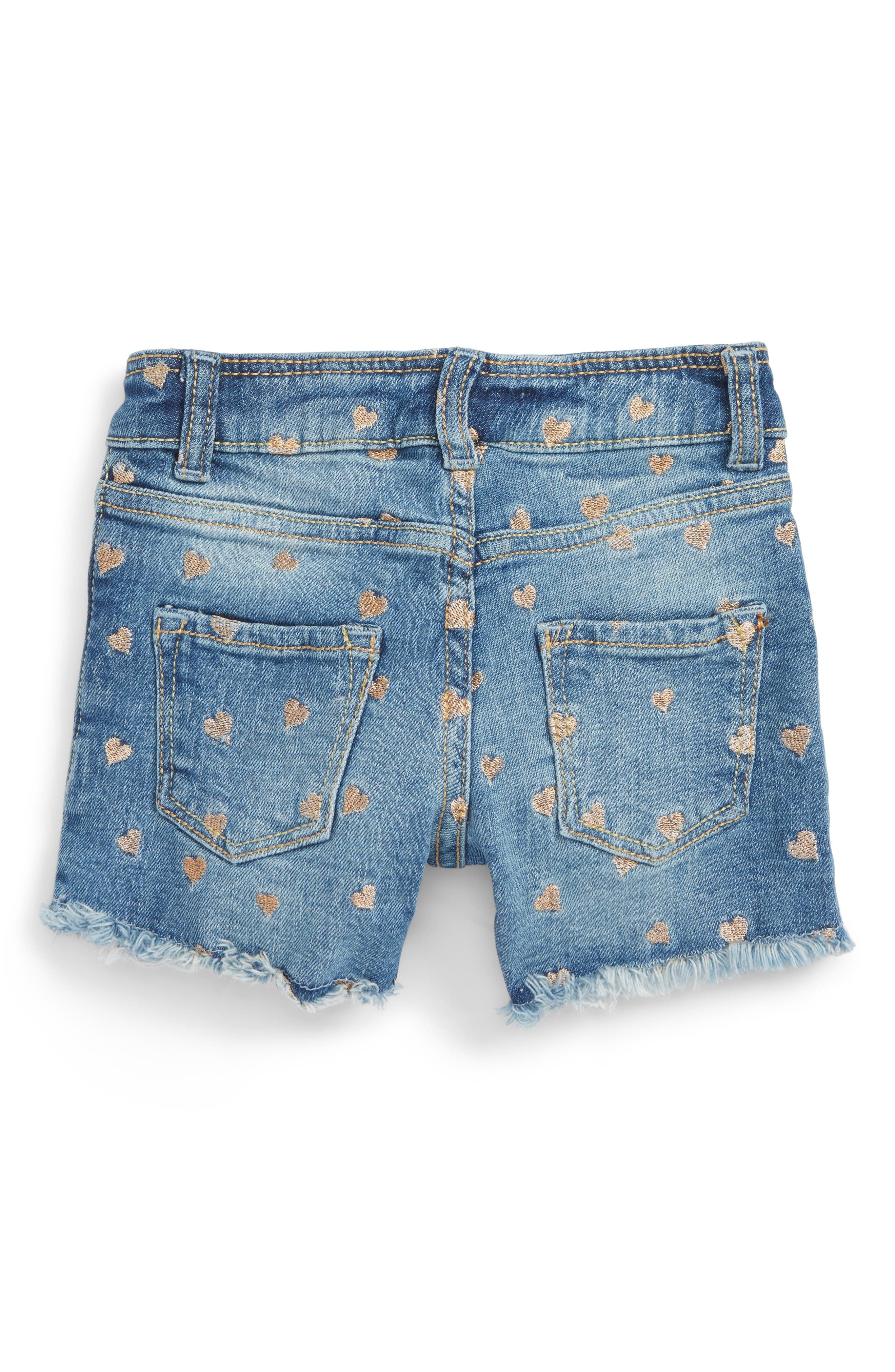 Mini Heart Cutoff Denim Shorts,                         Main,                         color,