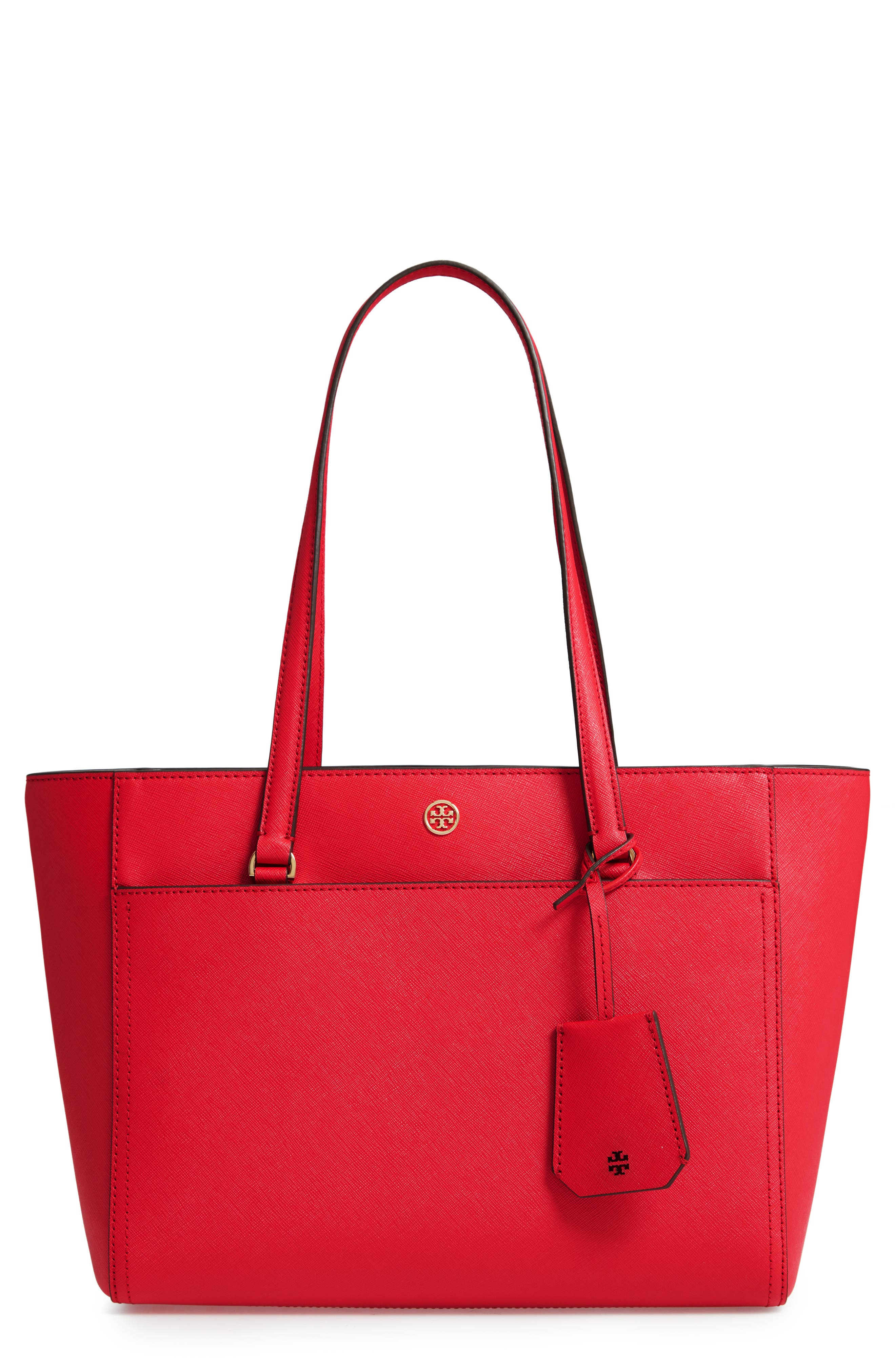 Small Robinson Leather Tote,                             Main thumbnail 1, color,                             BRILLIANT RED