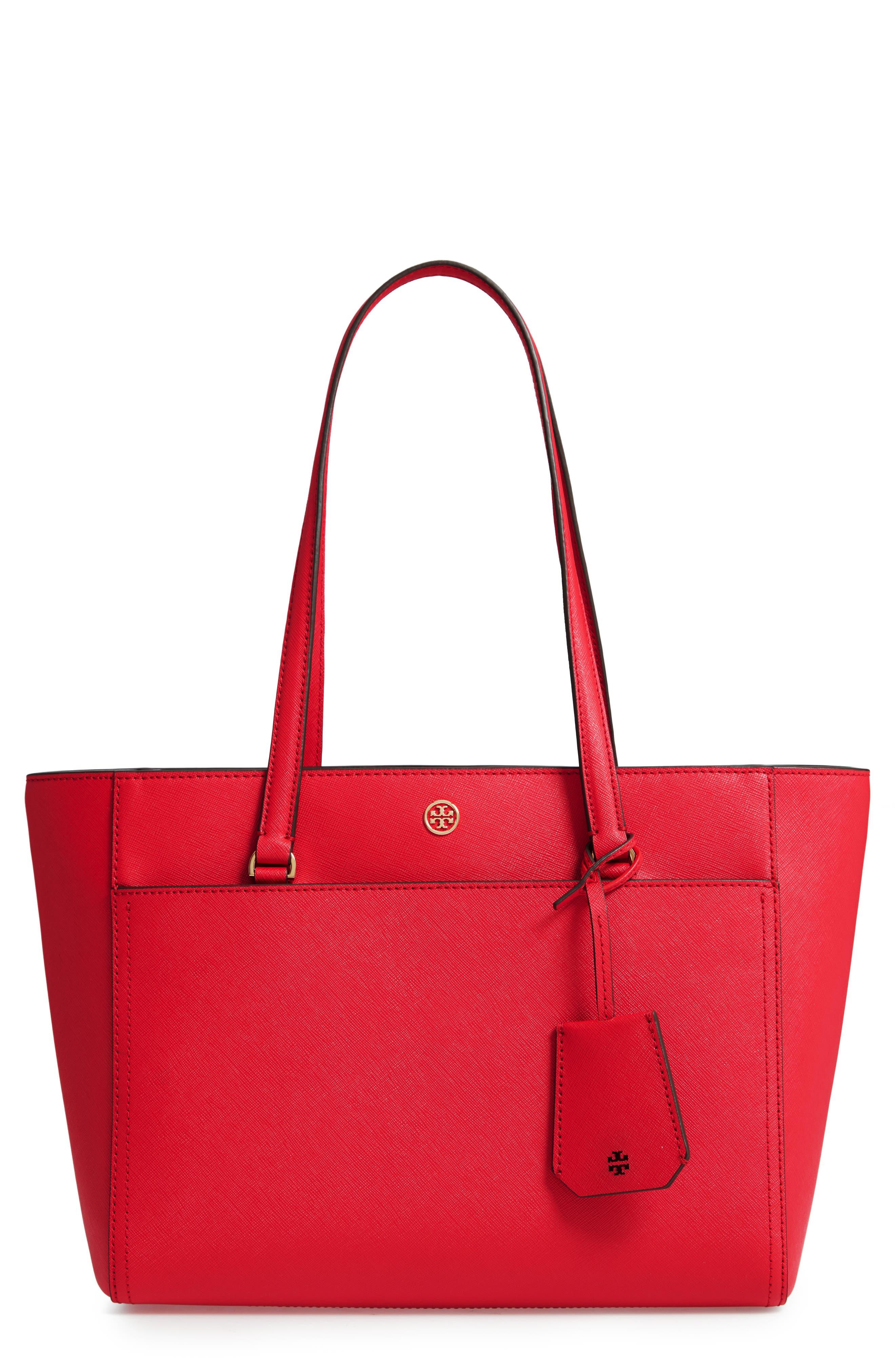 Small Robinson Leather Tote,                         Main,                         color, BRILLIANT RED