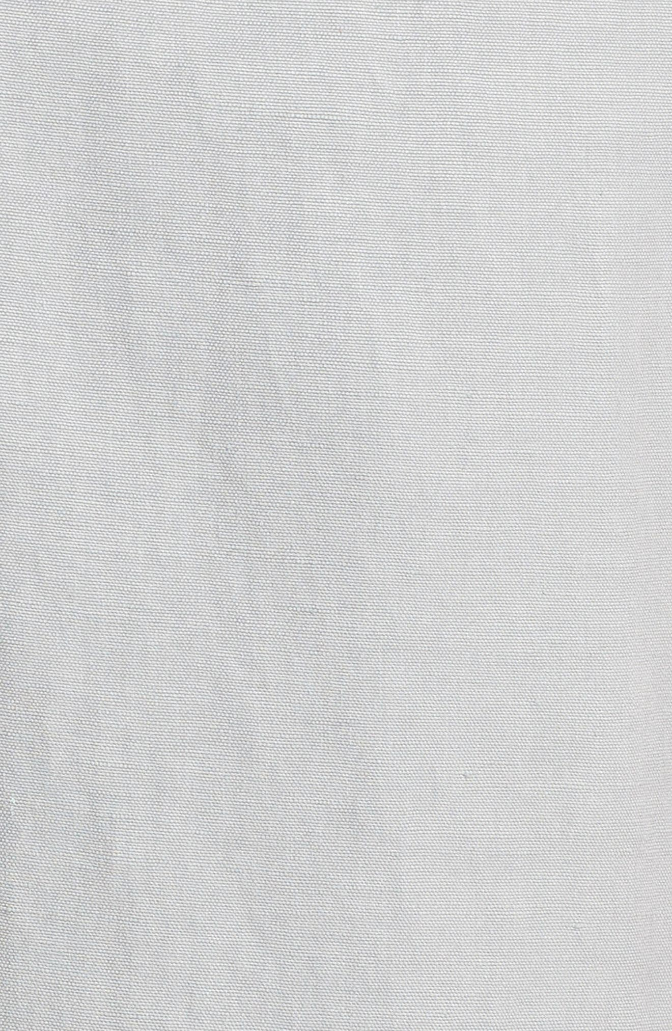 Monterey Flat Front Silk & Linen Shorts,                             Alternate thumbnail 5, color,                             LIGHT GREY