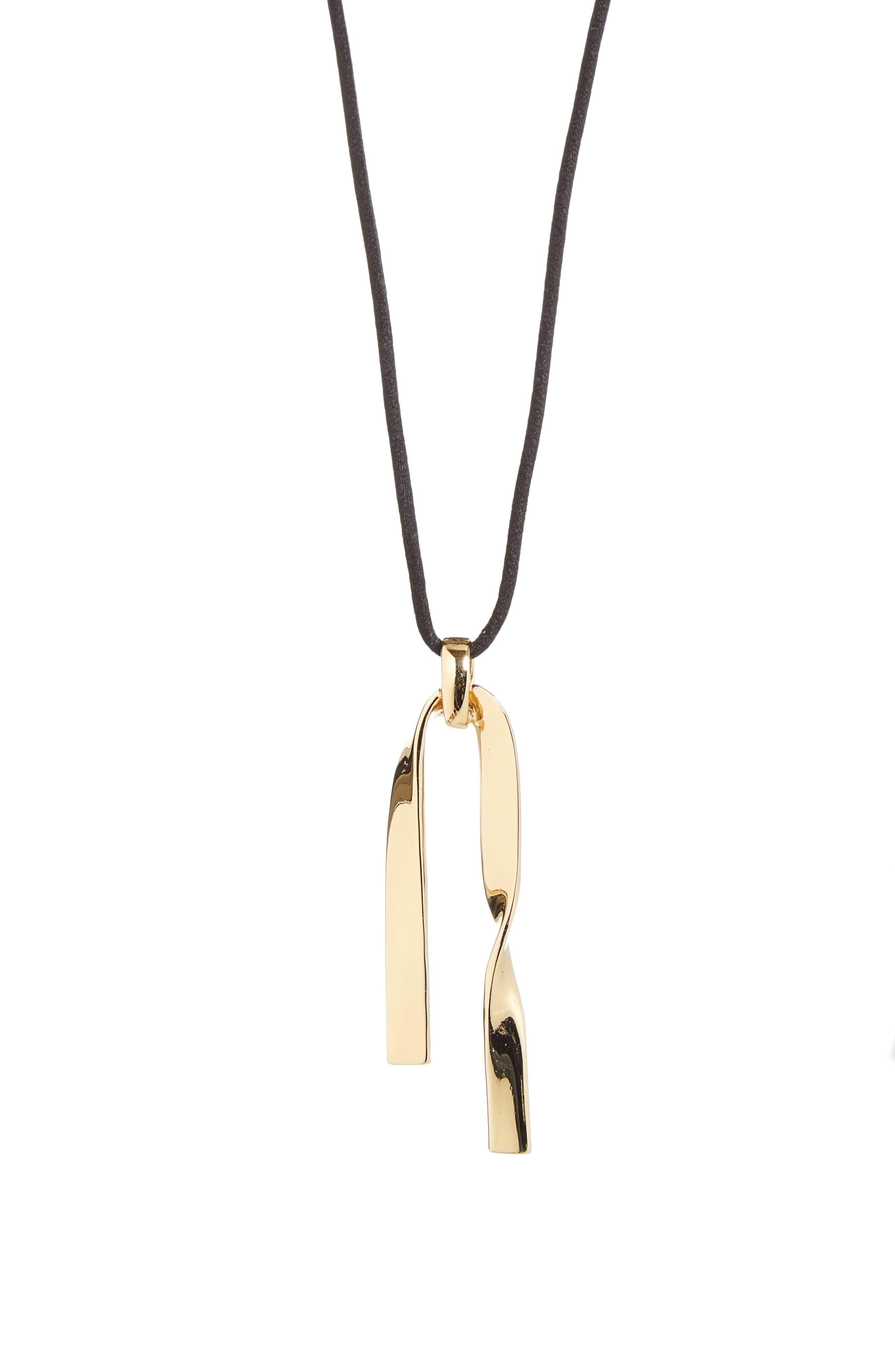 Twist Metal Pendant Necklace,                             Main thumbnail 1, color,                             LIGHT GOLD