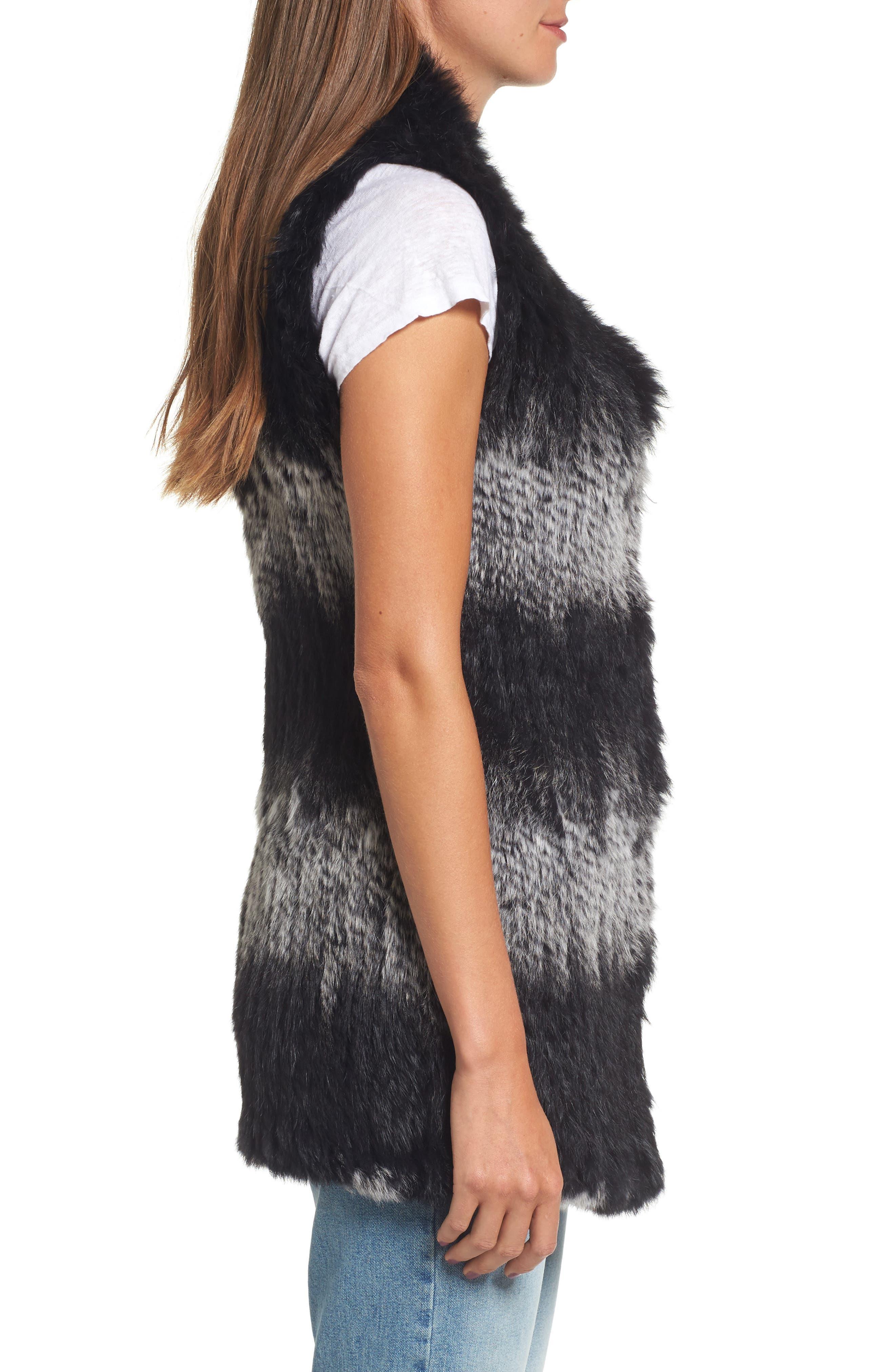 Stripe Genuine Rabbit Fur Vest,                             Alternate thumbnail 3, color,                             962