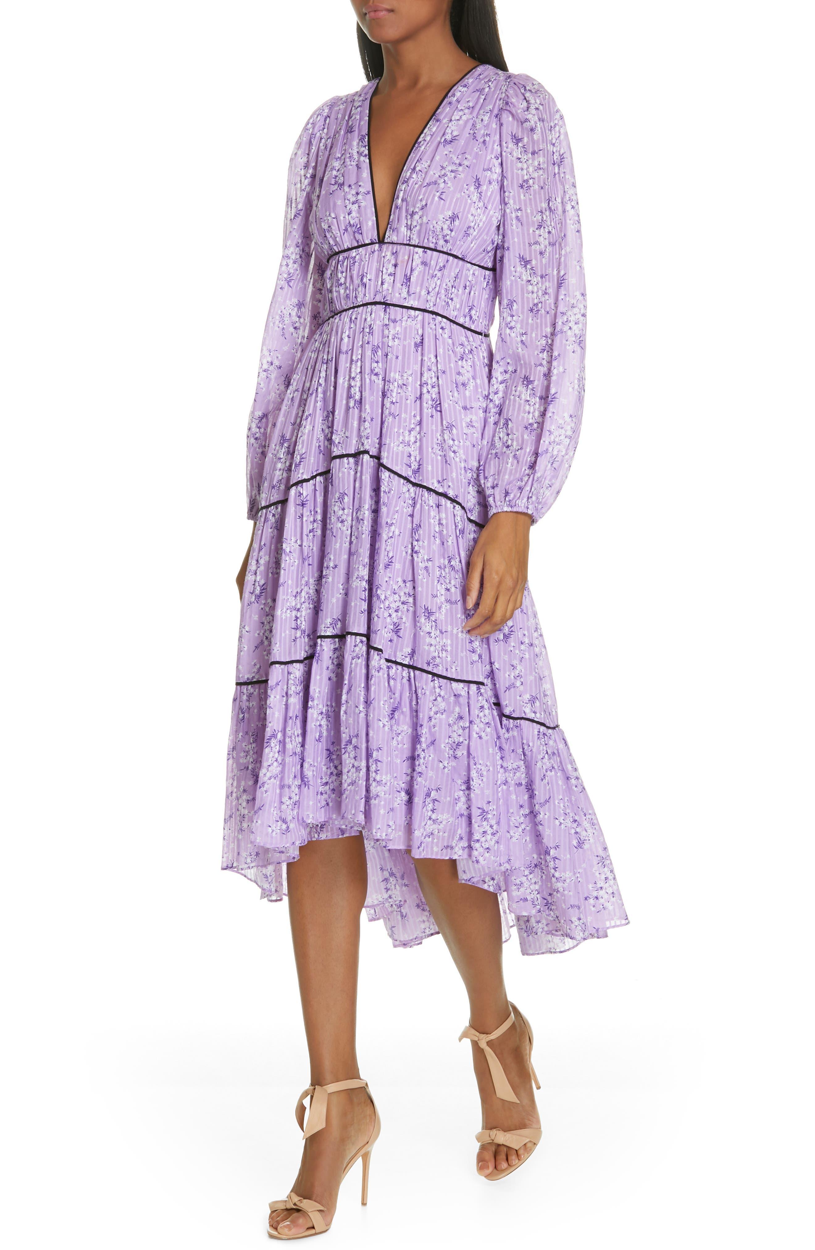 Joan Floral Print Cotton & Silk Midi Dress,                             Alternate thumbnail 4, color,                             LILAC