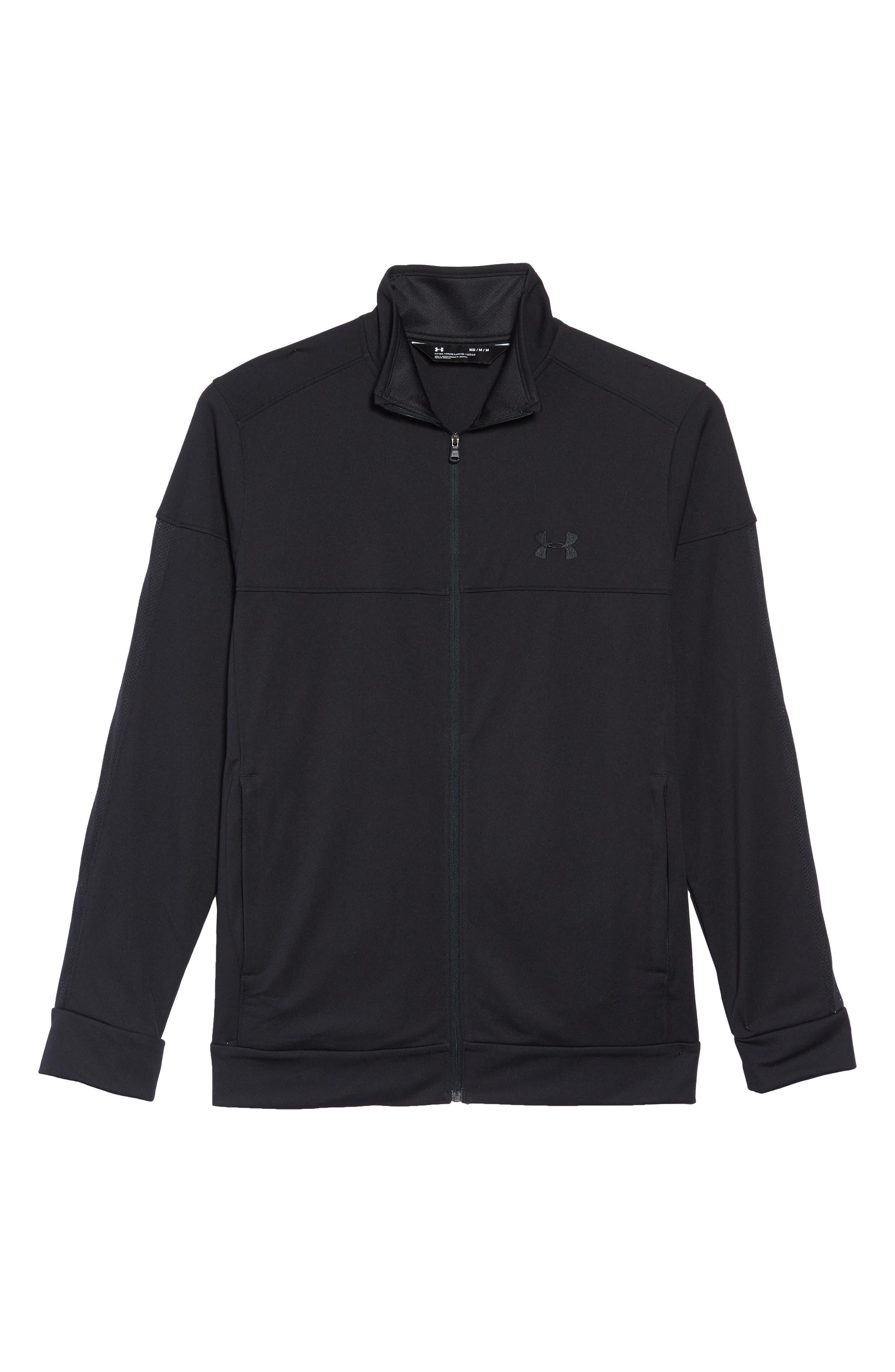 Sportstyle Piqué Track Jacket,                             Alternate thumbnail 6, color,                             BLACK / / BLACK