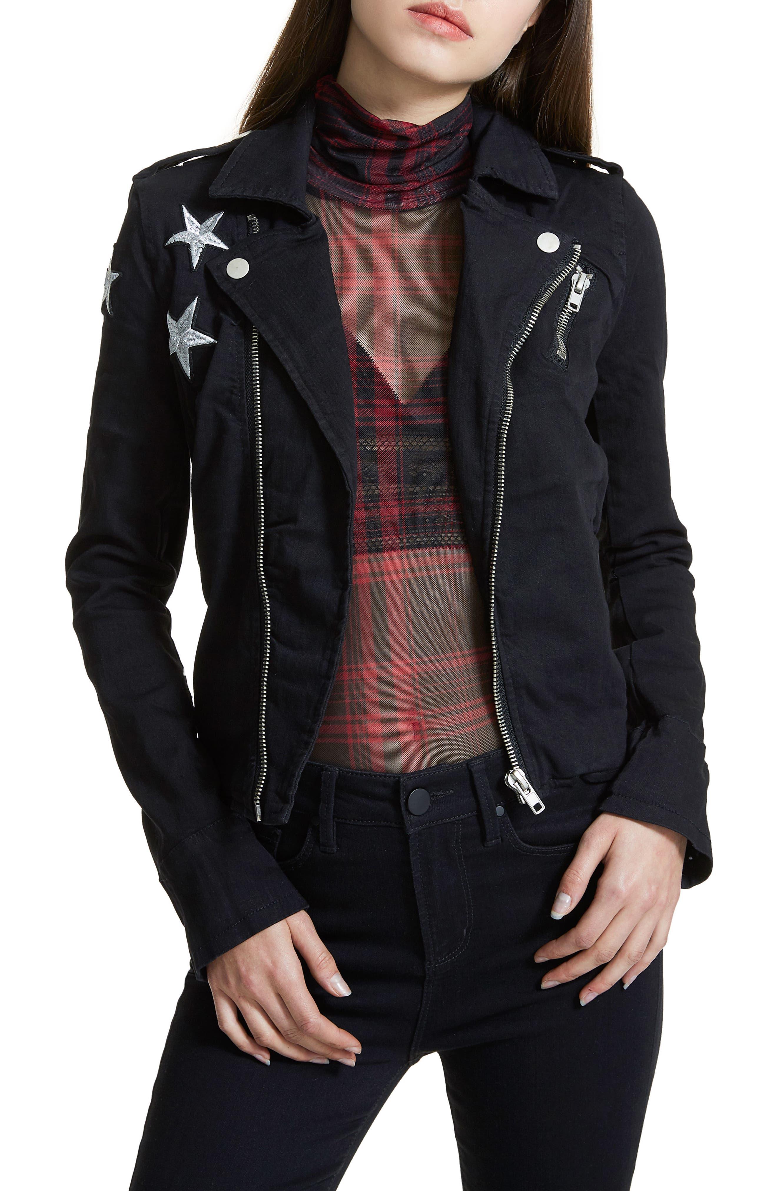 Ashlyn Denim Moto Jacket,                             Main thumbnail 1, color,                             001