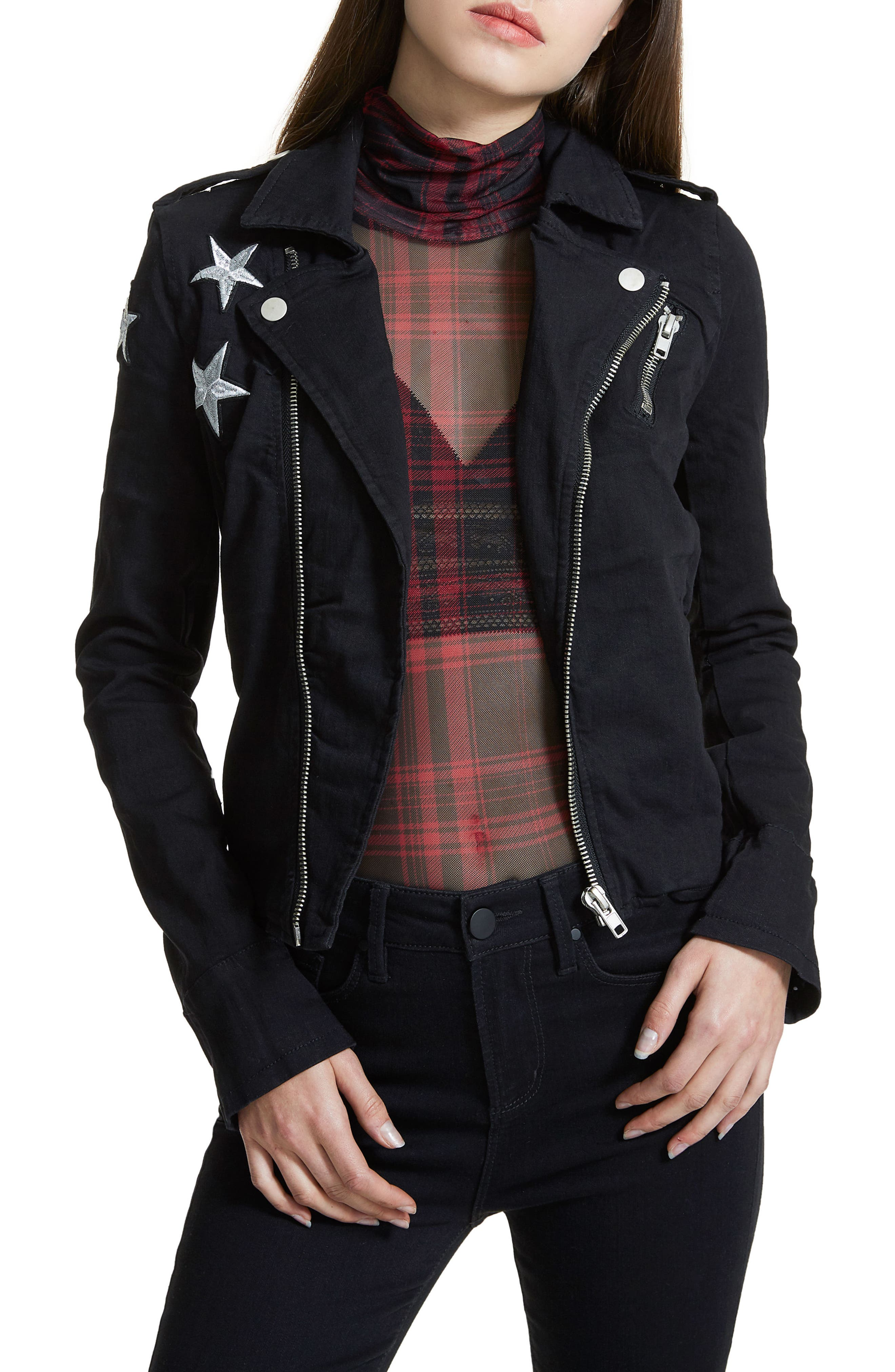 Ashlyn Denim Moto Jacket,                         Main,                         color, 001