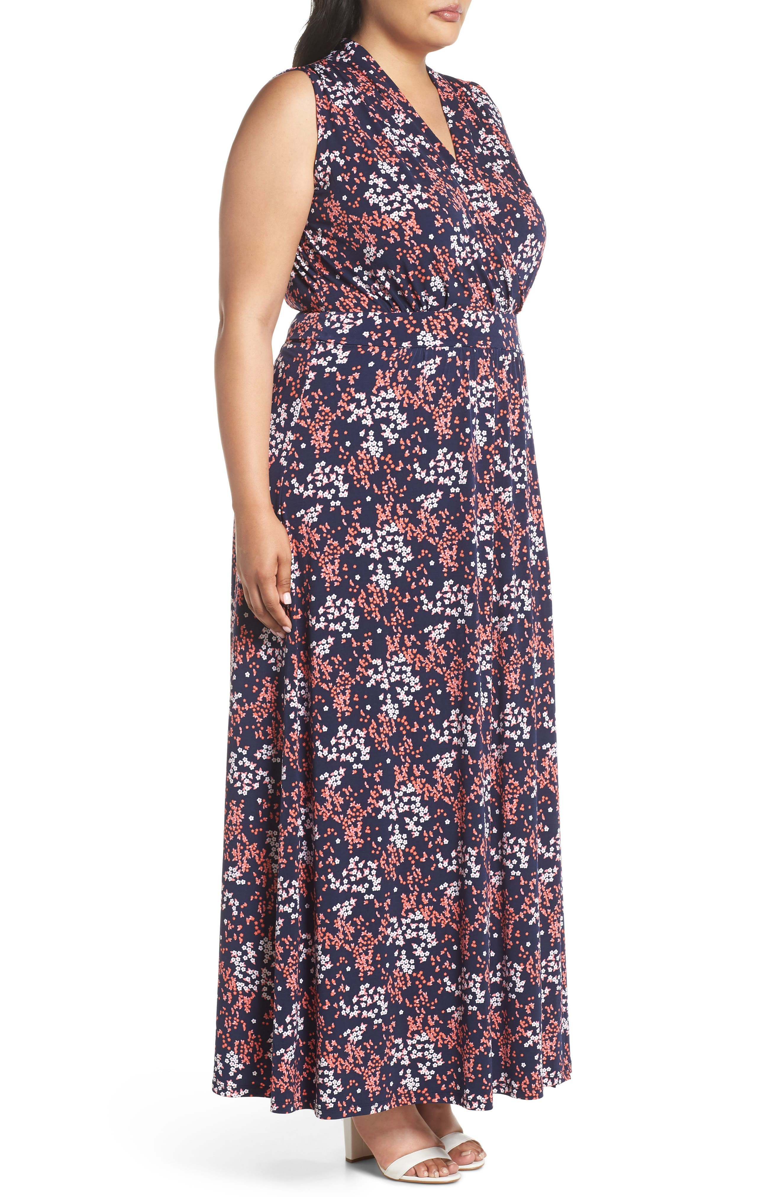 Floral Print Maxi Dress,                             Alternate thumbnail 3, color,                             671