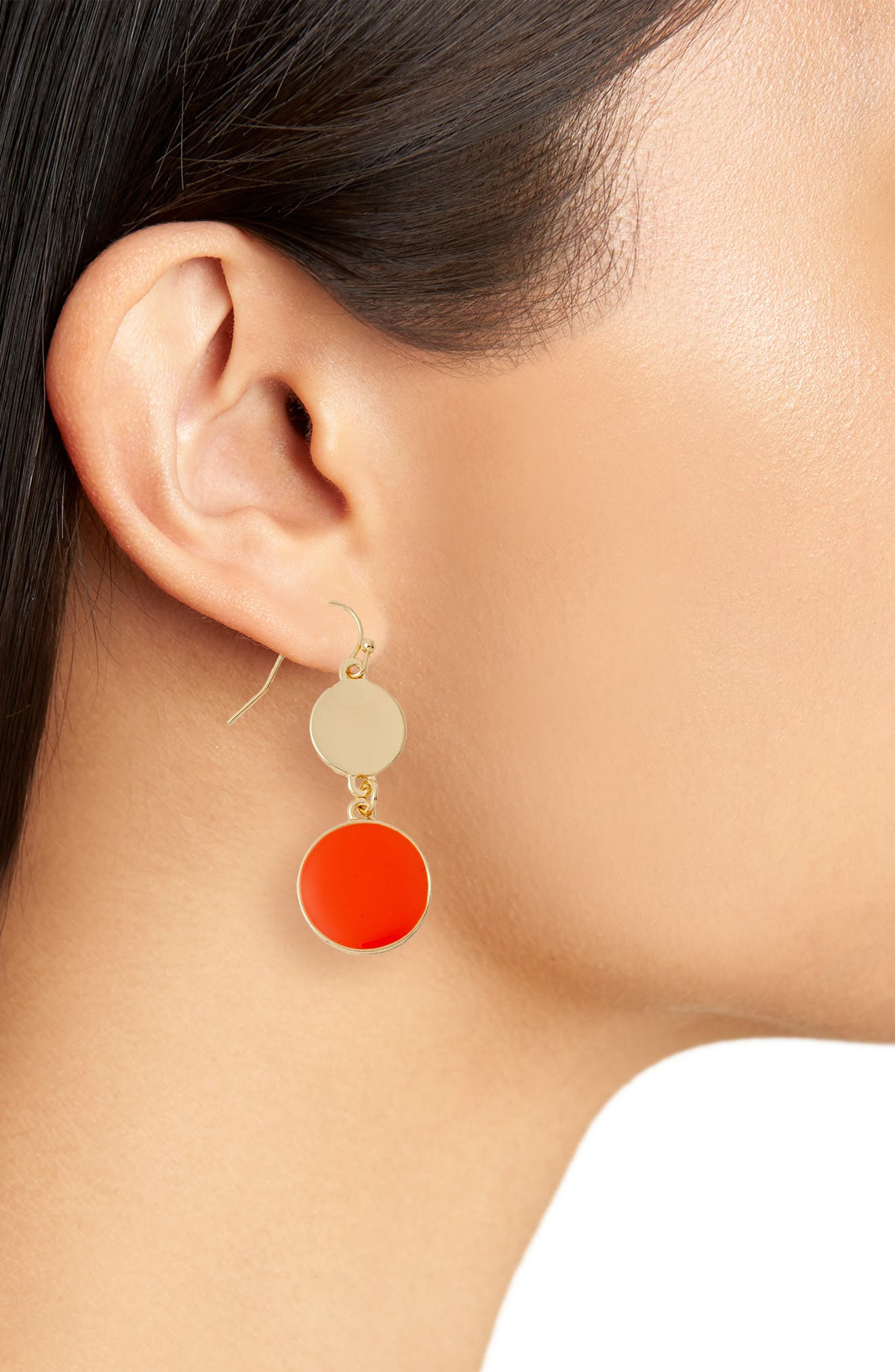Double Disc Drop Earrings,                             Alternate thumbnail 4, color,