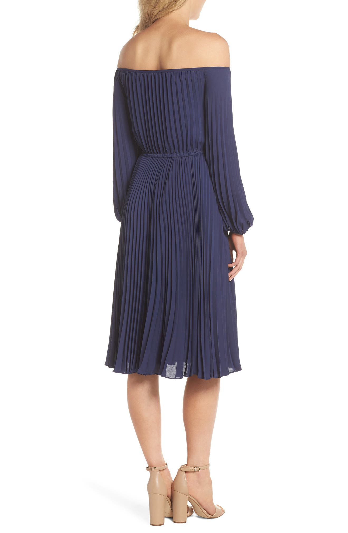 Elise Off the Shoulder Pleated Georgette Dress,                             Alternate thumbnail 2, color,                             NAVY W/ SELF PIPING