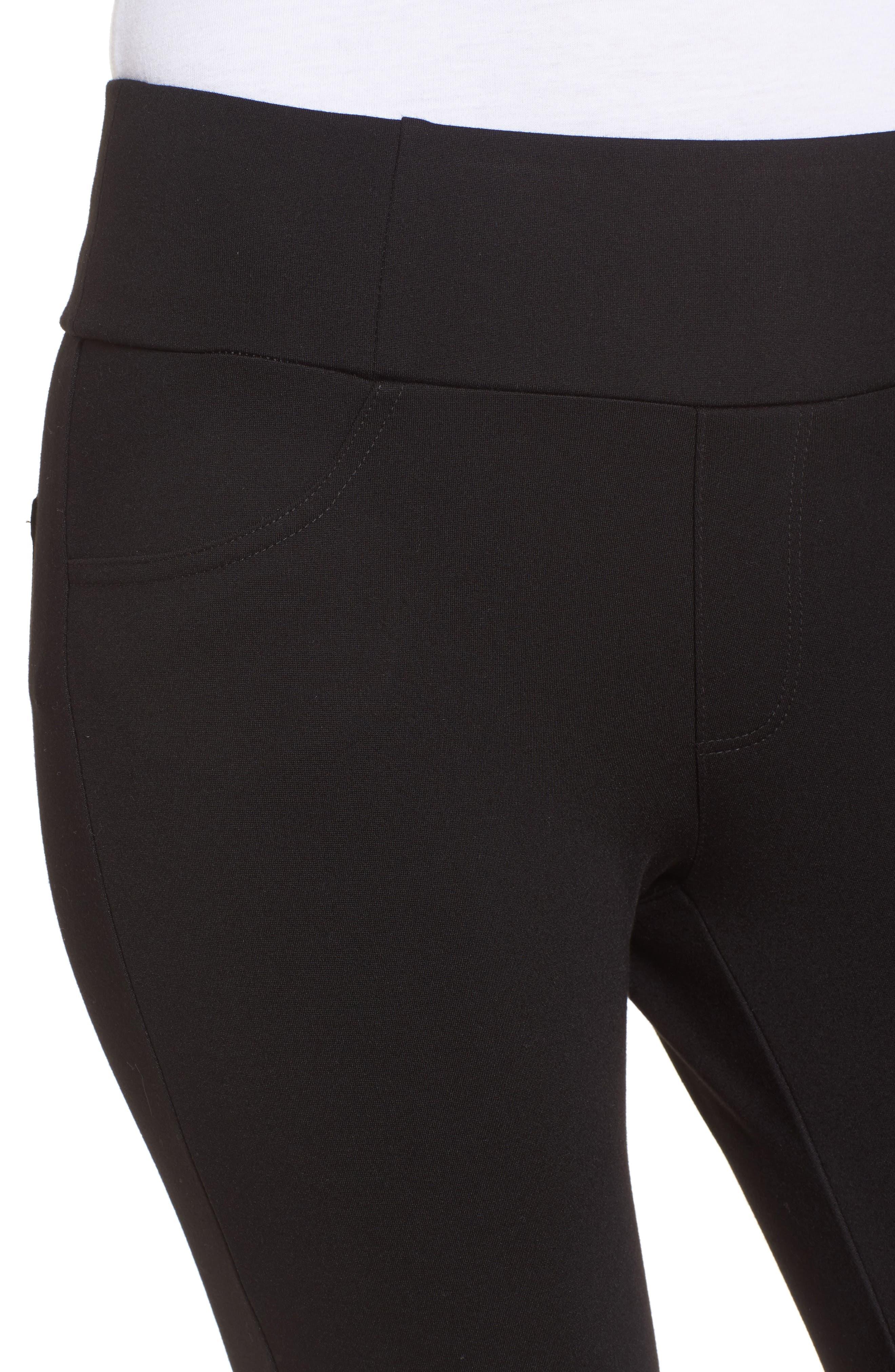 High Waist Ponte Pants,                             Alternate thumbnail 4, color,                             BLACK