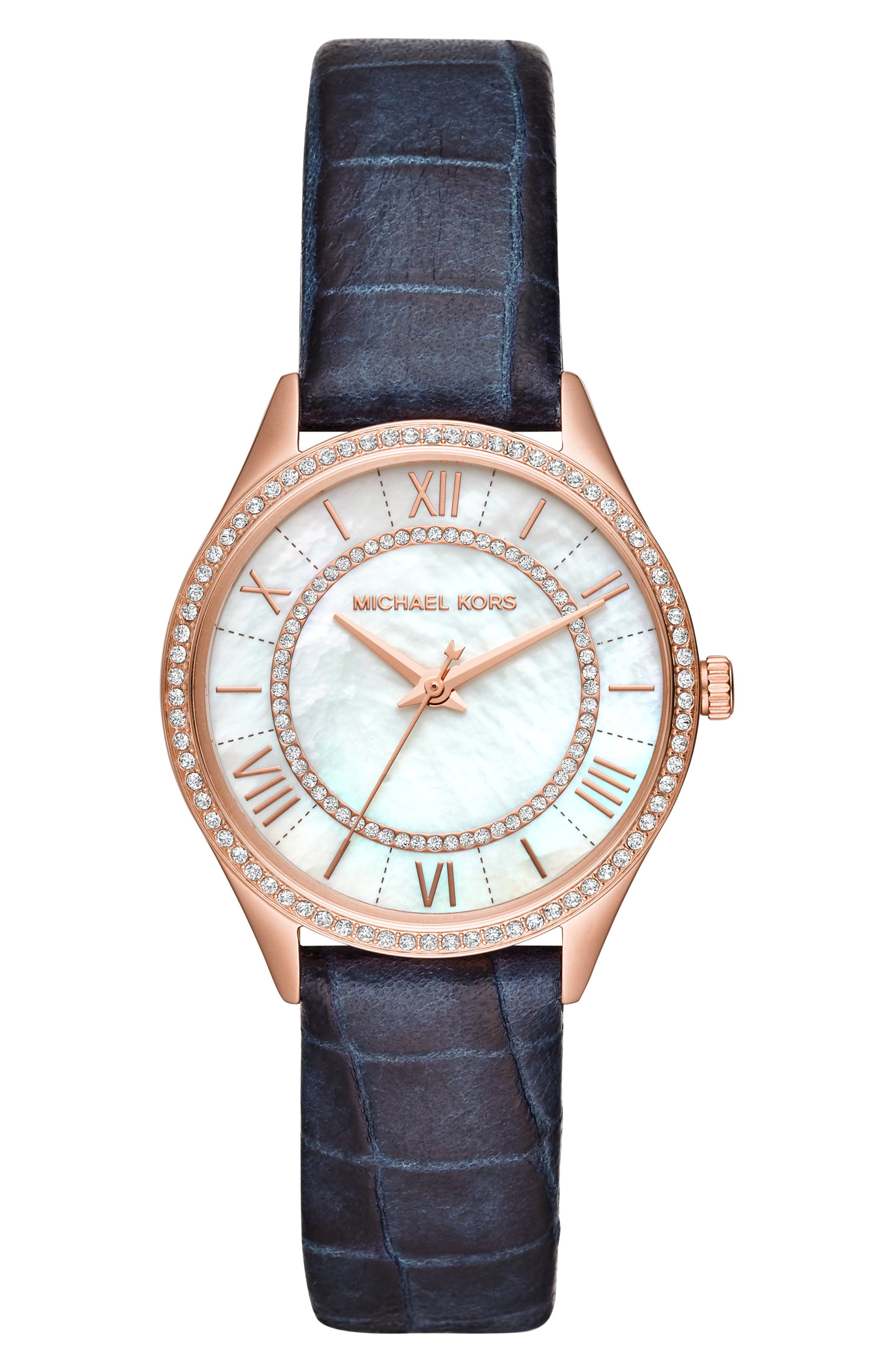 Lauryn Leather Strap Watch, 33mm,                         Main,                         color, 400