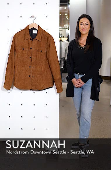 Regular Fit Quilted Suede Shirt Jacket, sales video thumbnail